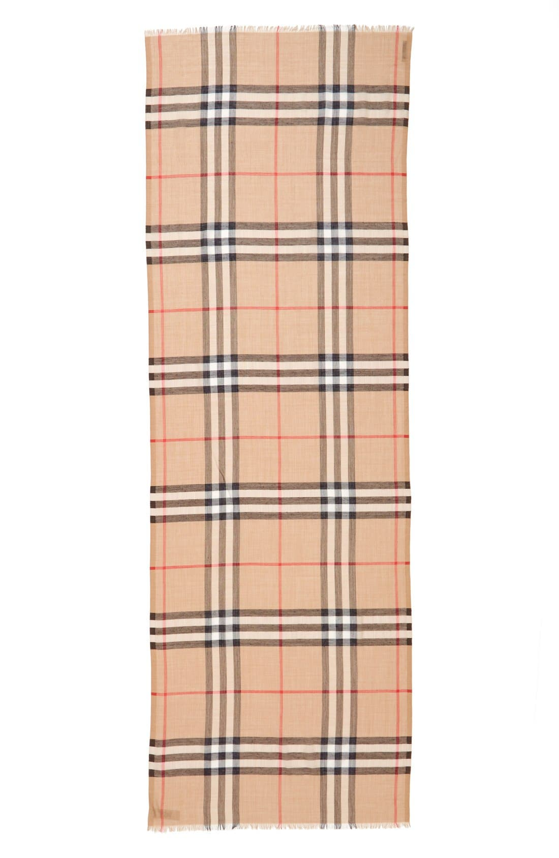 Giant Check Print Wool & Silk Scarf,                             Alternate thumbnail 3, color,                             Classic