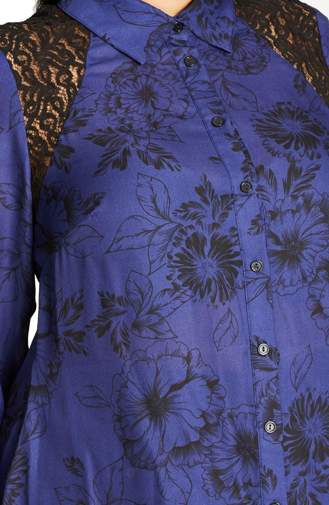Des Fleurs Back Keyhole Shirt,                             Alternate thumbnail 4, color,                             Blue Indigo