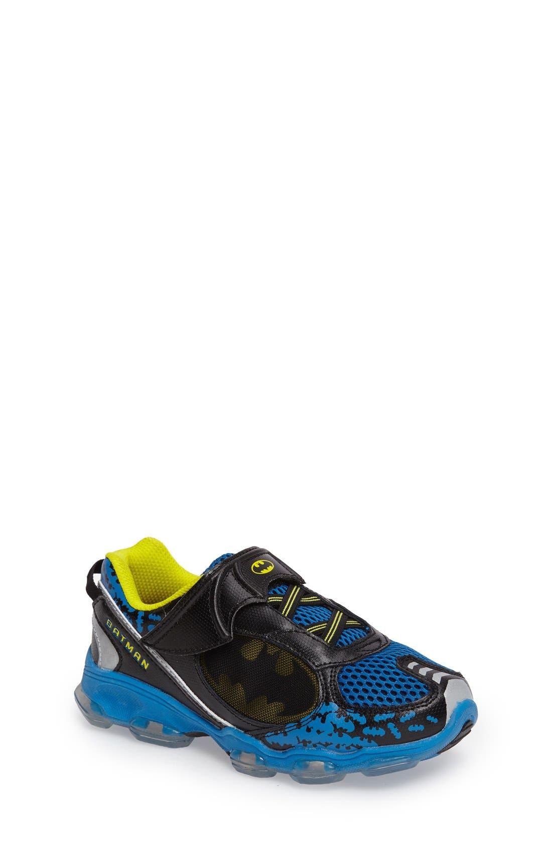 Batman<sup>™</sup> Light-Up Sneaker,                             Main thumbnail 1, color,                             Navy/ Yellow