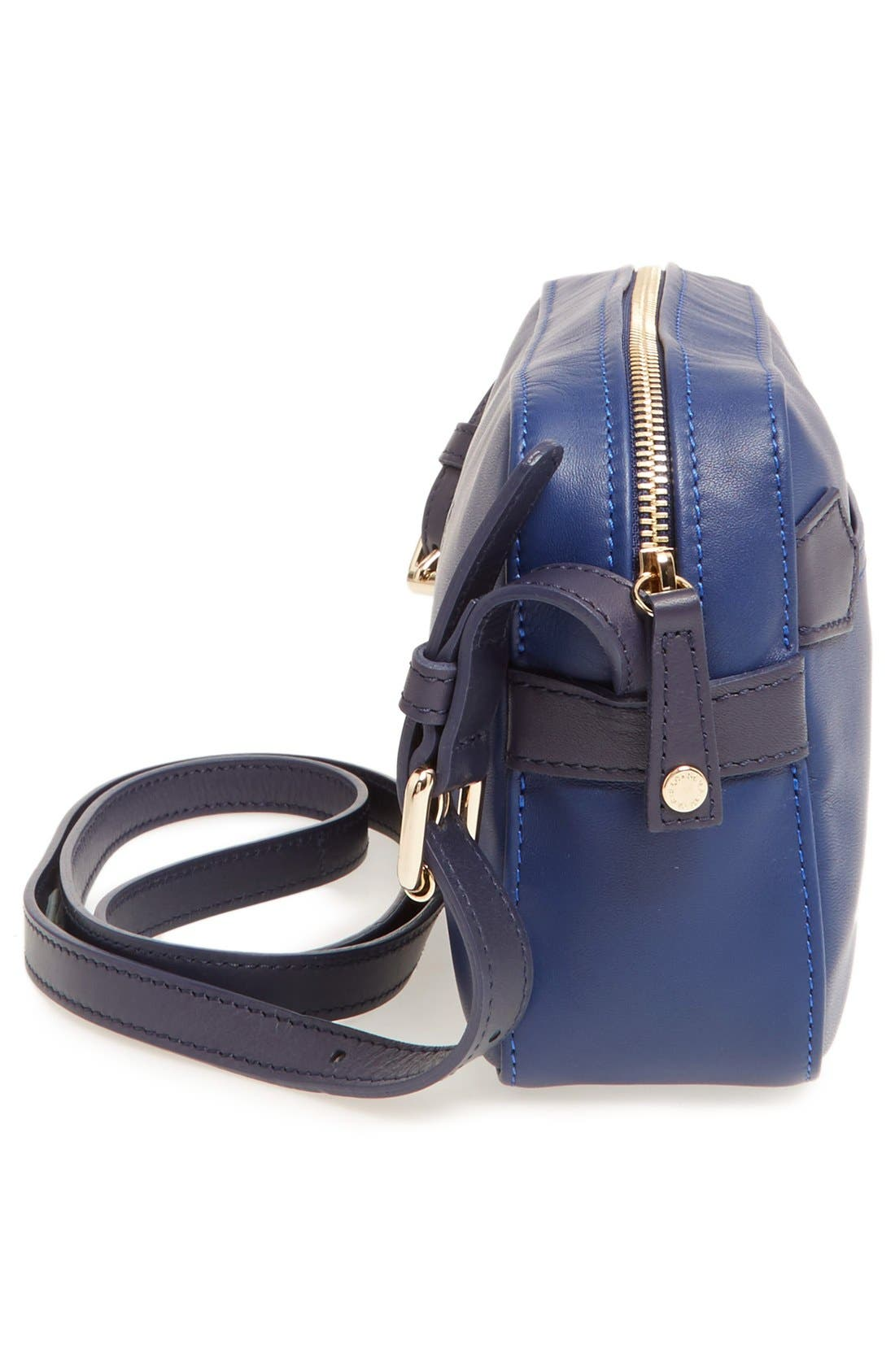 '2.0' Two-Tone Leather Crossbody Bag,                             Alternate thumbnail 4, color,                             Blue/ Navy