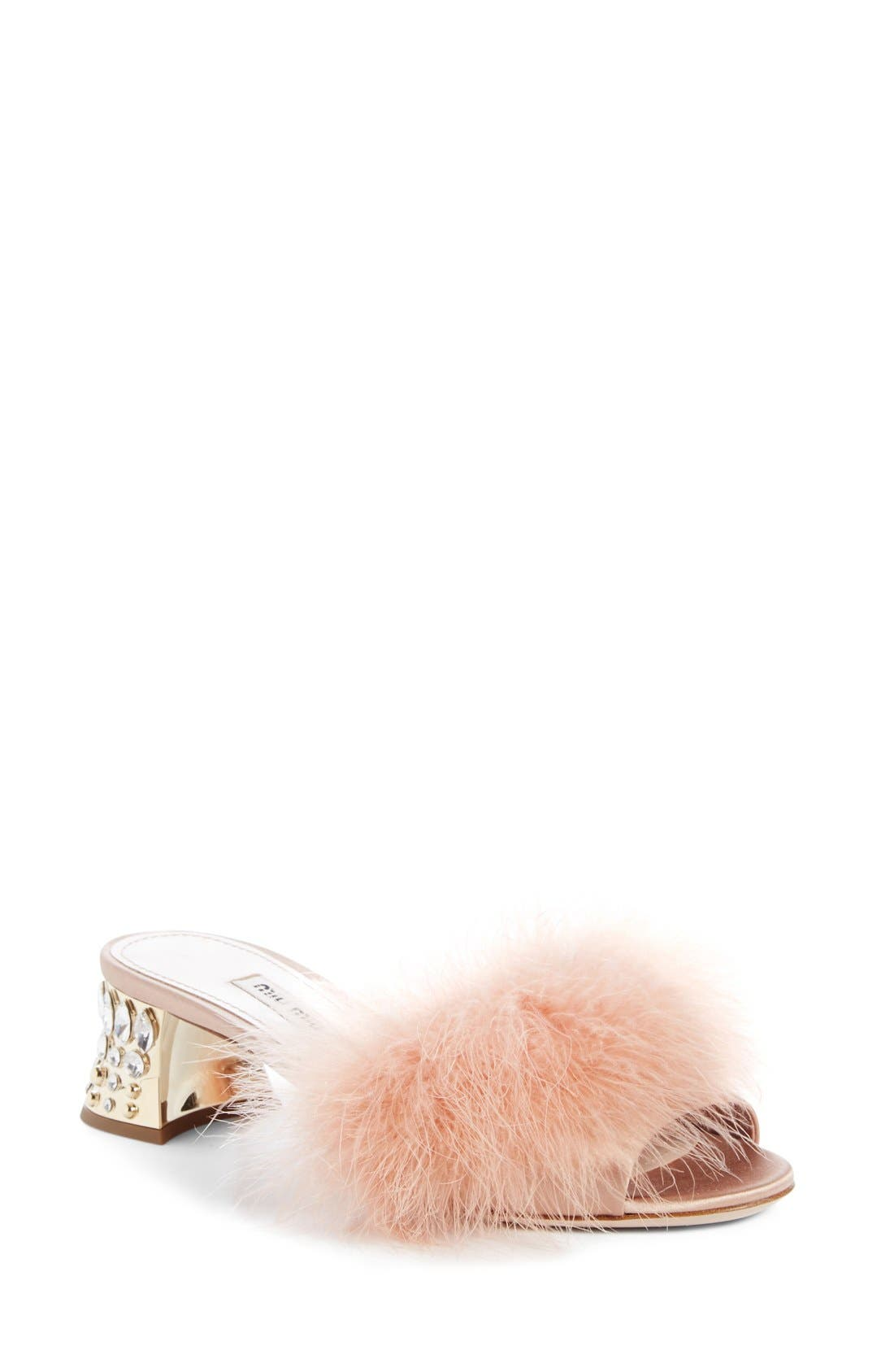 MIU MIU Feather Slide Sandal