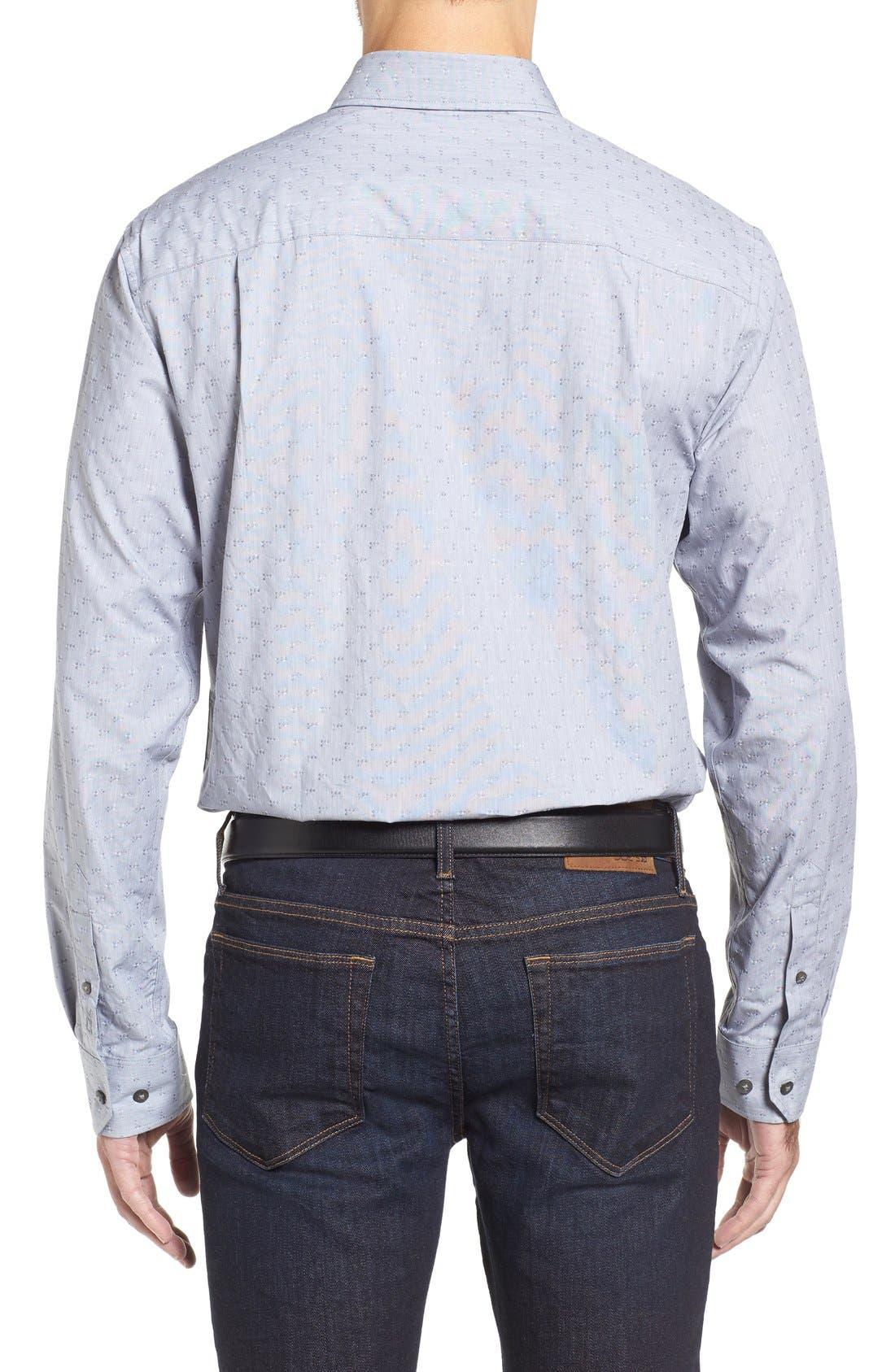 Starboard Jacquard Sport Shirt,                             Alternate thumbnail 3, color,                             Grey/ Multi