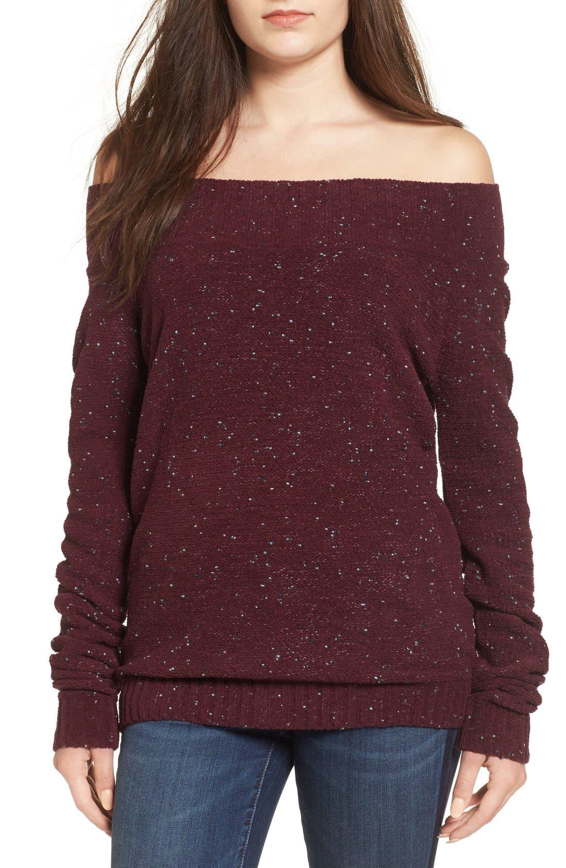 'Marilyn' Sweater,                             Main thumbnail 1, color,                             Burgundy Stem Chenille Combo