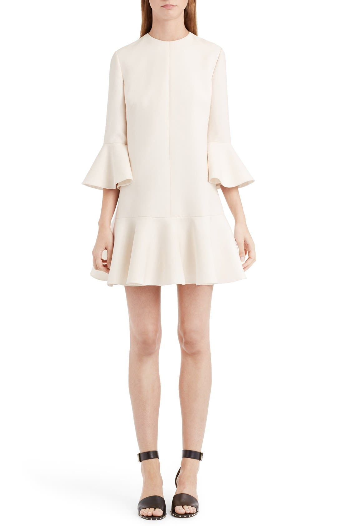 Bell Sleeve Crepe Couture Dress,                             Main thumbnail 1, color,                             Ivory