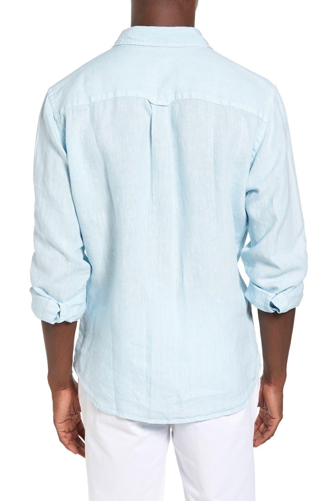 Alternate Image 2  - Original Paperbacks Nice Trim Fit Linen Sport Shirt