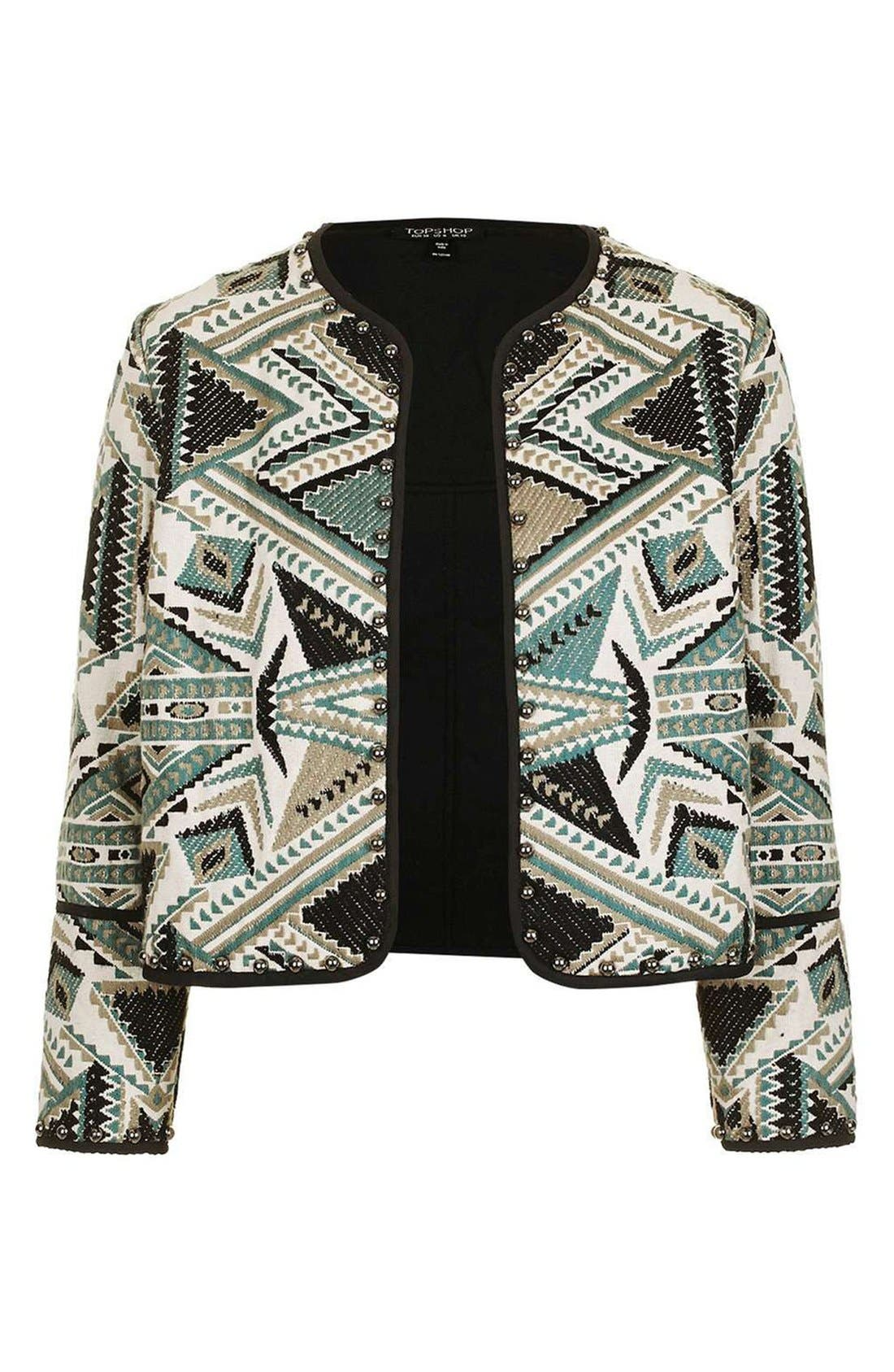 Studded Embroidered Jacket,                             Alternate thumbnail 4, color,                             Grey Multi