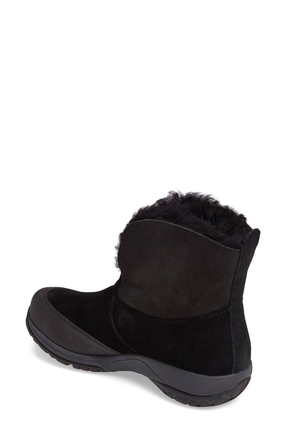 Priscilla Genuine Shearling Waterproof Bootie,                             Alternate thumbnail 2, color,                             Black Suede