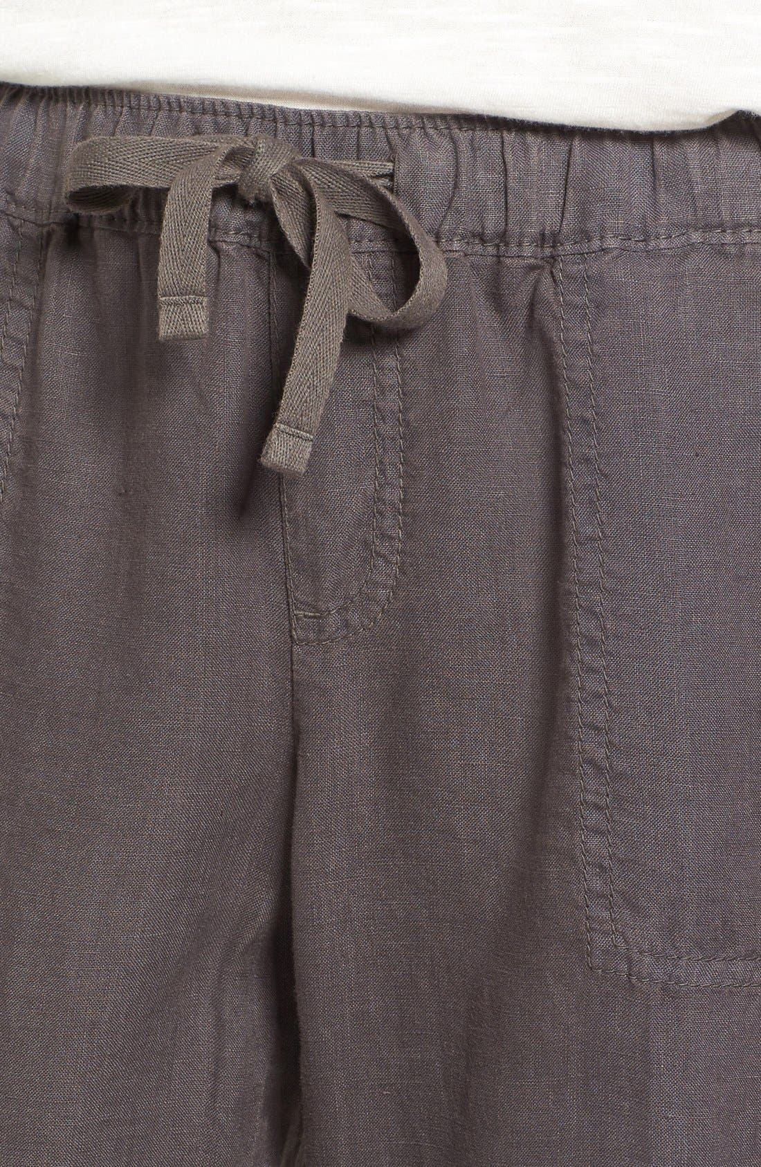 Crop Linen Joggers,                             Alternate thumbnail 3, color,                             Grey Ebony