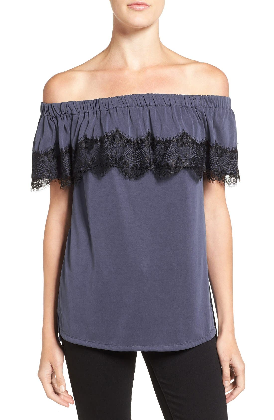 Alternate Image 1 Selected - Ella Moss 'Isabella' Lace Trim Off the Shoulder Top