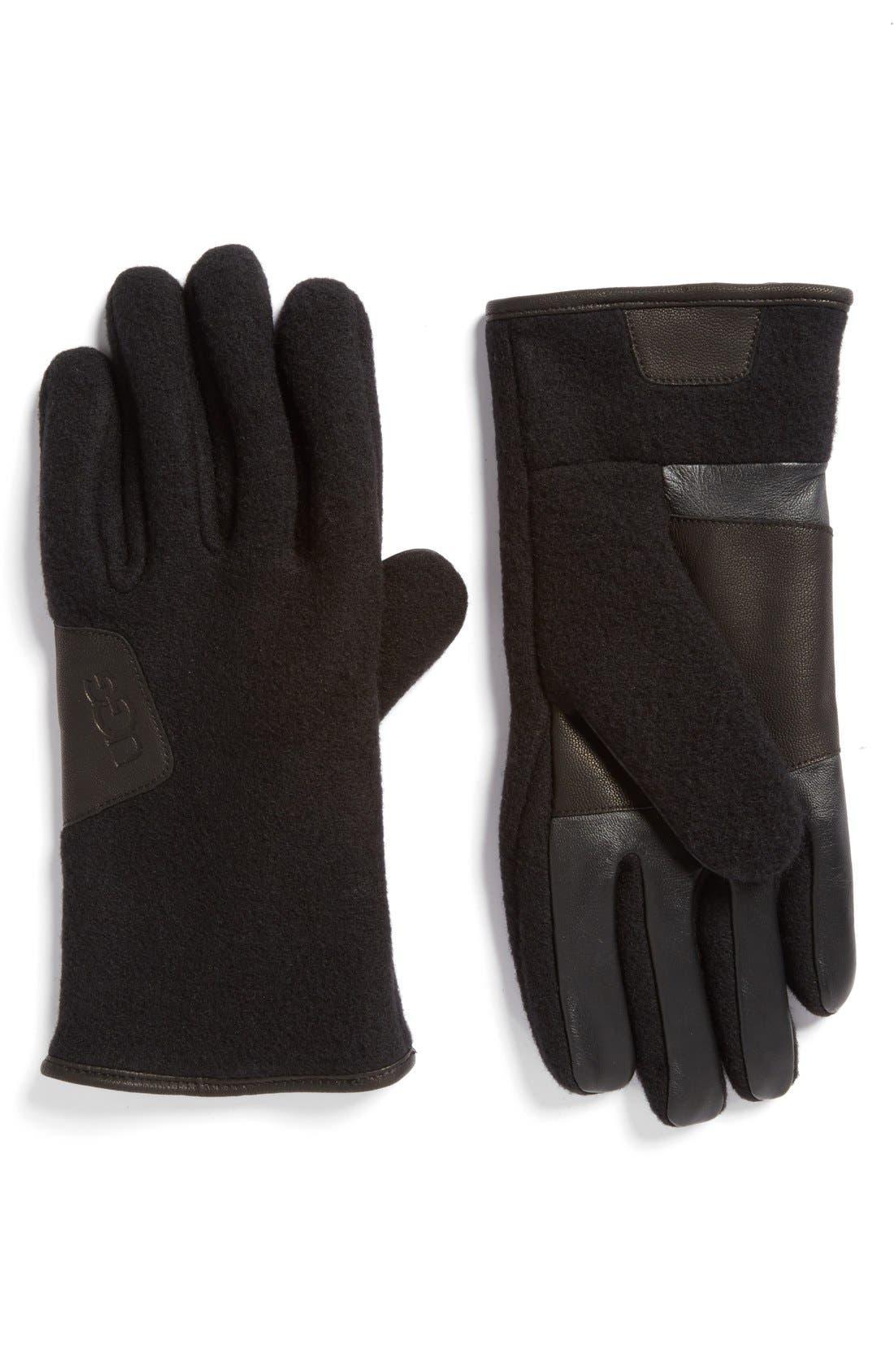 Wool Blend Tech Gloves,                         Main,                         color, Black