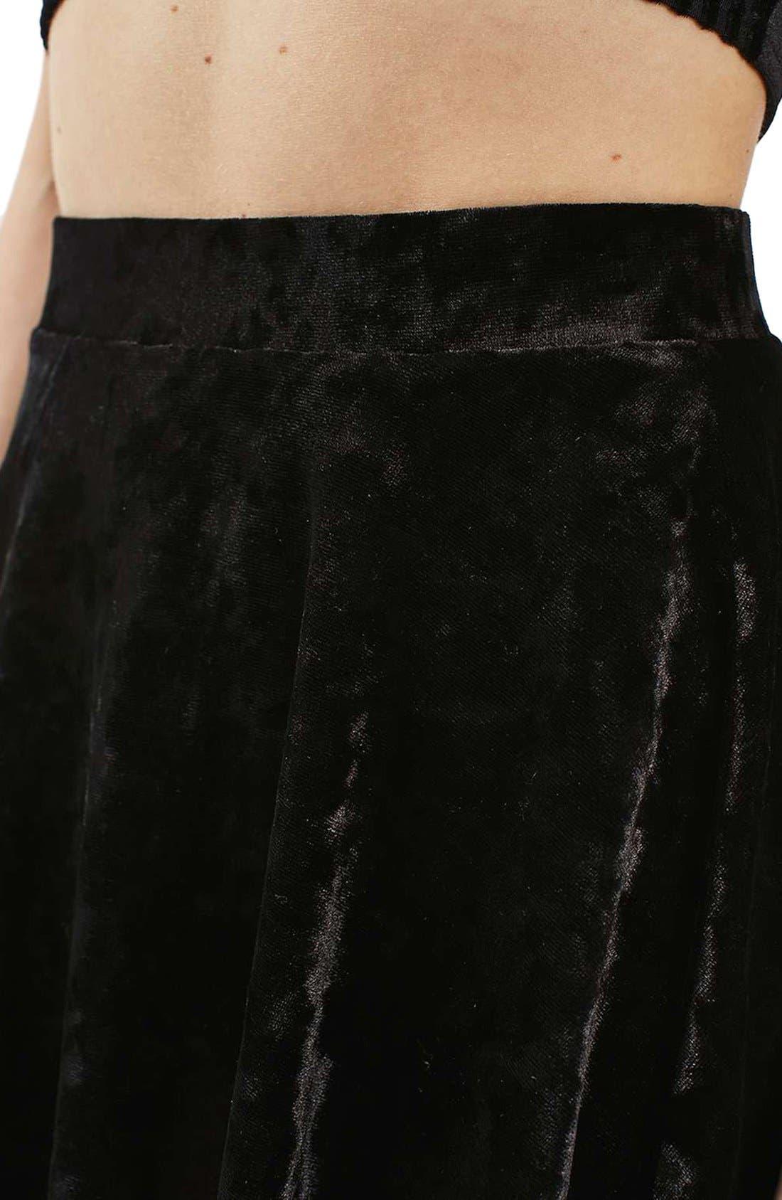 Alternate Image 5  - Topshop Velvet Skater Skirt