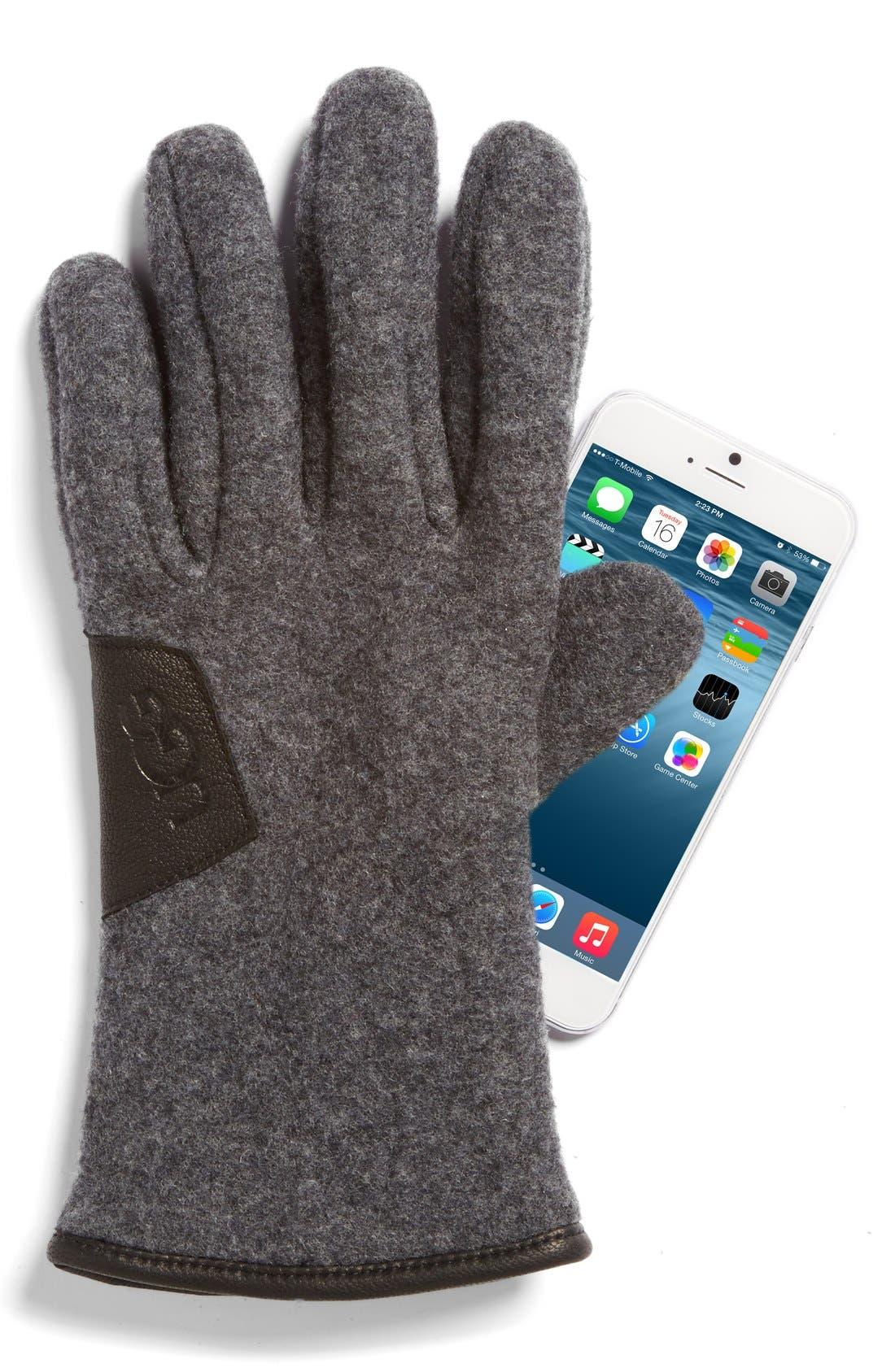 Wool Blend Tech Gloves,                             Alternate thumbnail 2, color,                             Charcoal