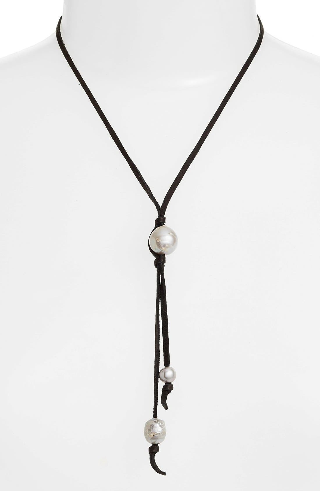 Chan Luu Leather & Pearl Bolo Necklace