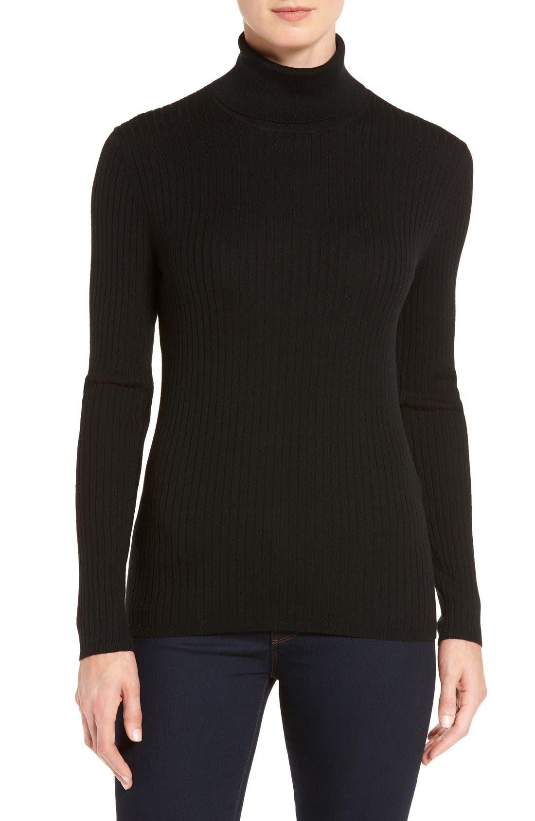 Main Image - Classiques Entier® Ribbed Turtleneck Sweater (Regular & Petite)