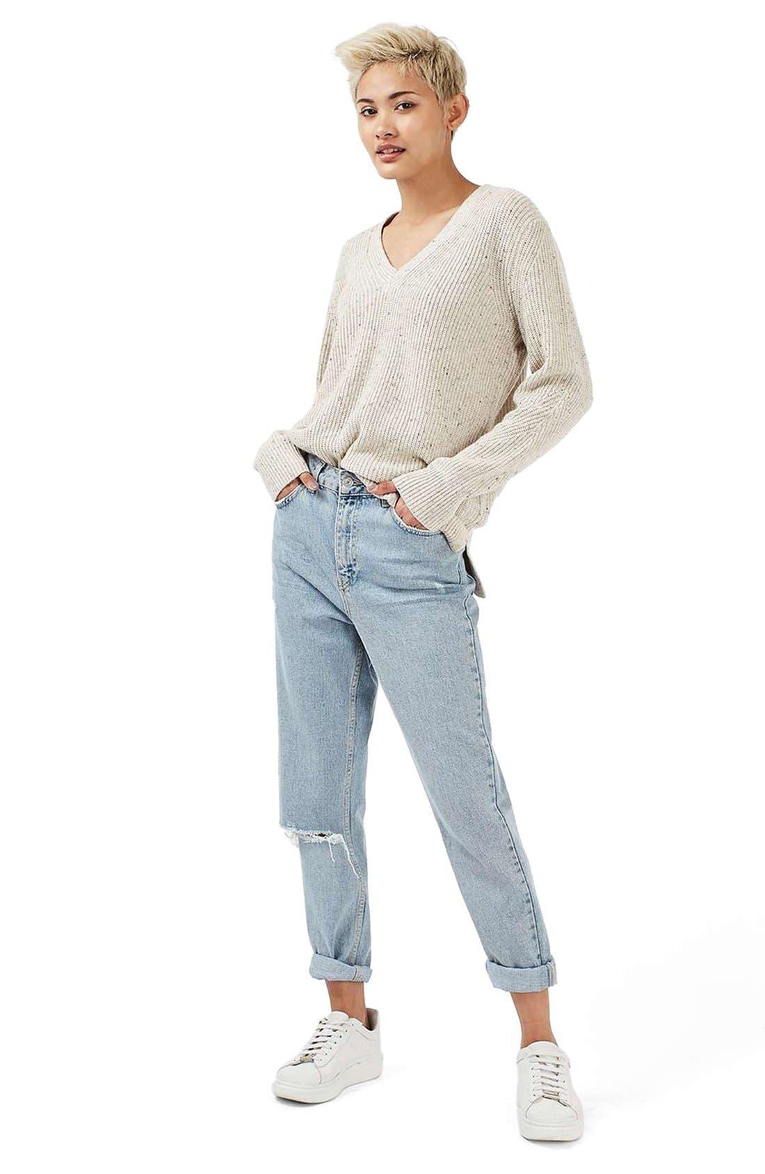 Alternate Image 2  - Topshop Ribbed V-Neck Sweater