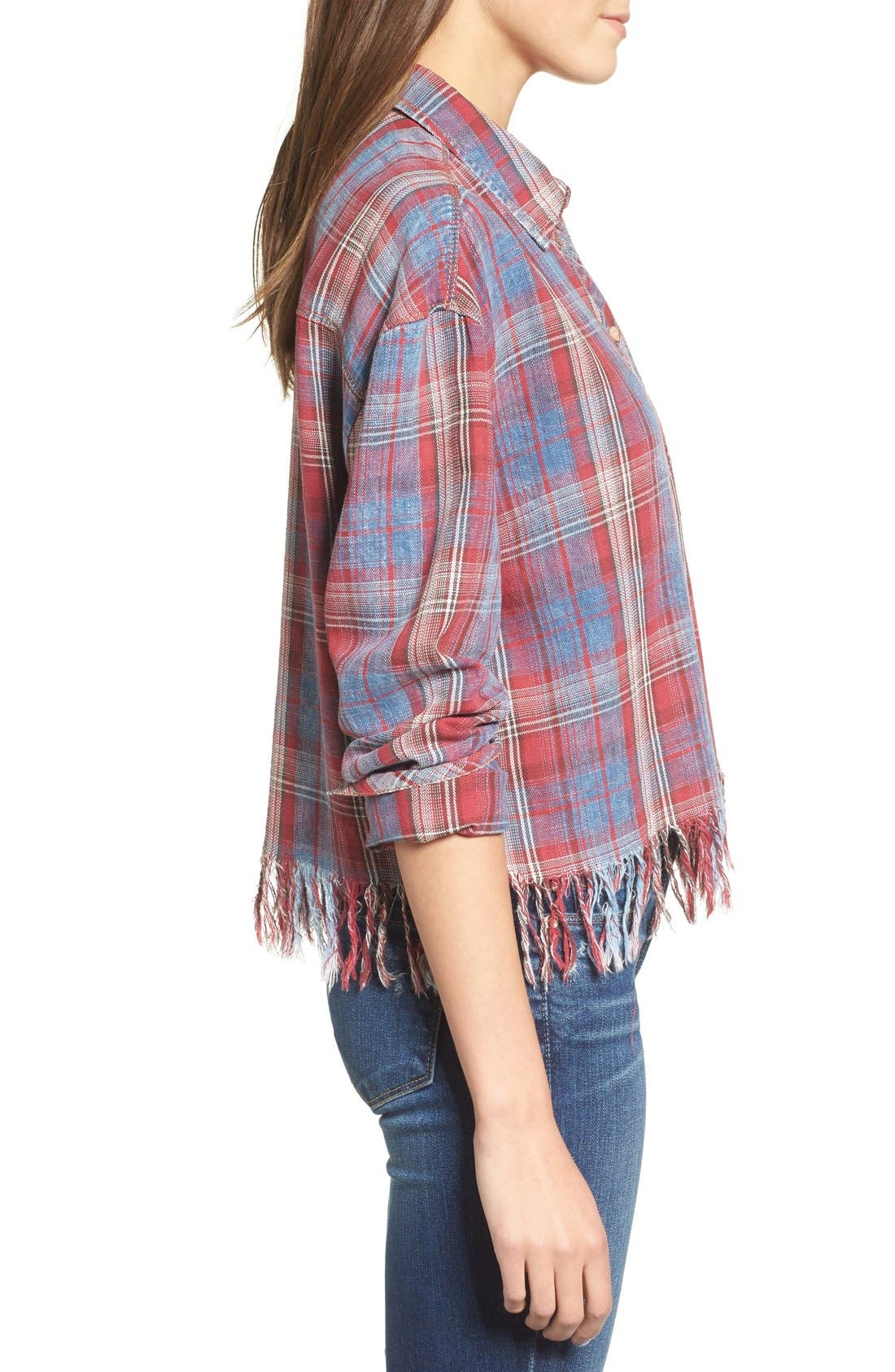 Frayed Plaid Shirt,                             Alternate thumbnail 3, color,                             Red/ Blue