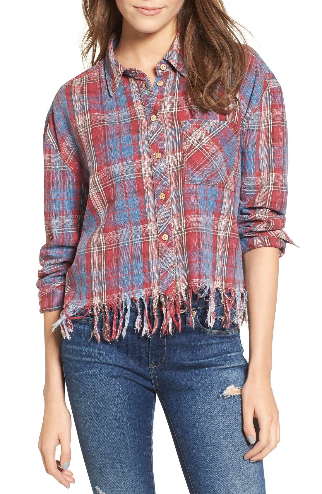 Frayed Plaid Shirt,                         Main,                         color, Red/ Blue