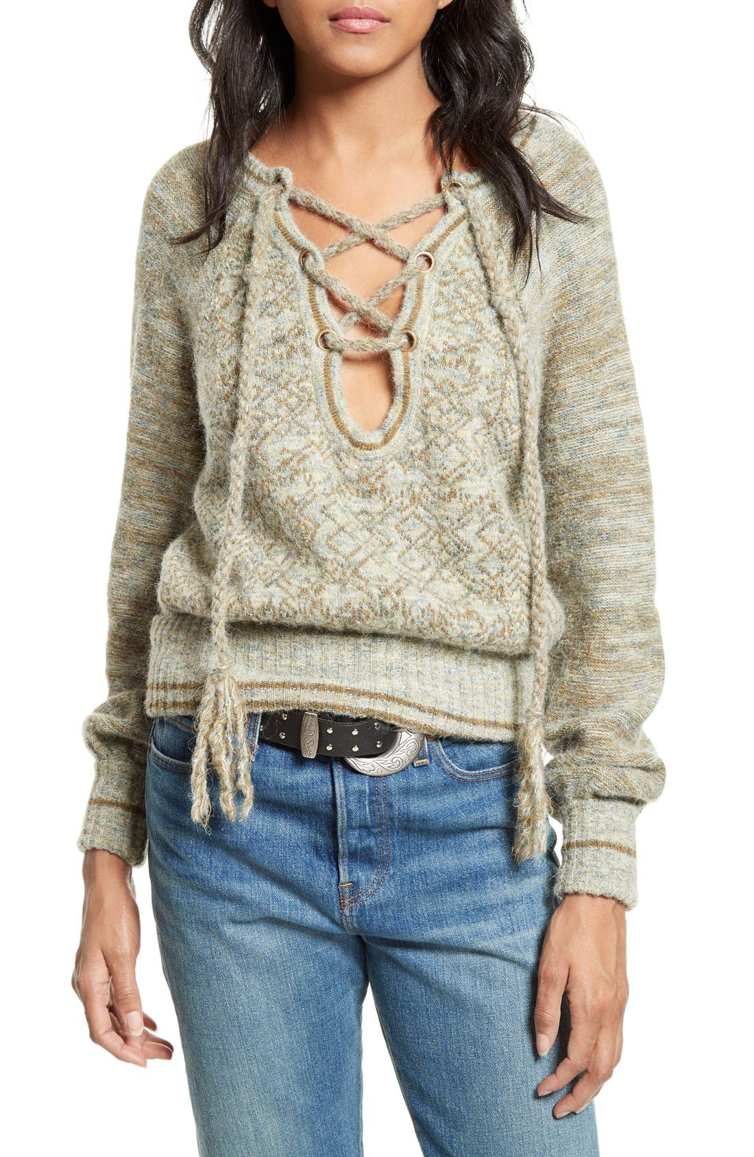 Alternate Image 1 Selected - Free People Lace-Up Sweater