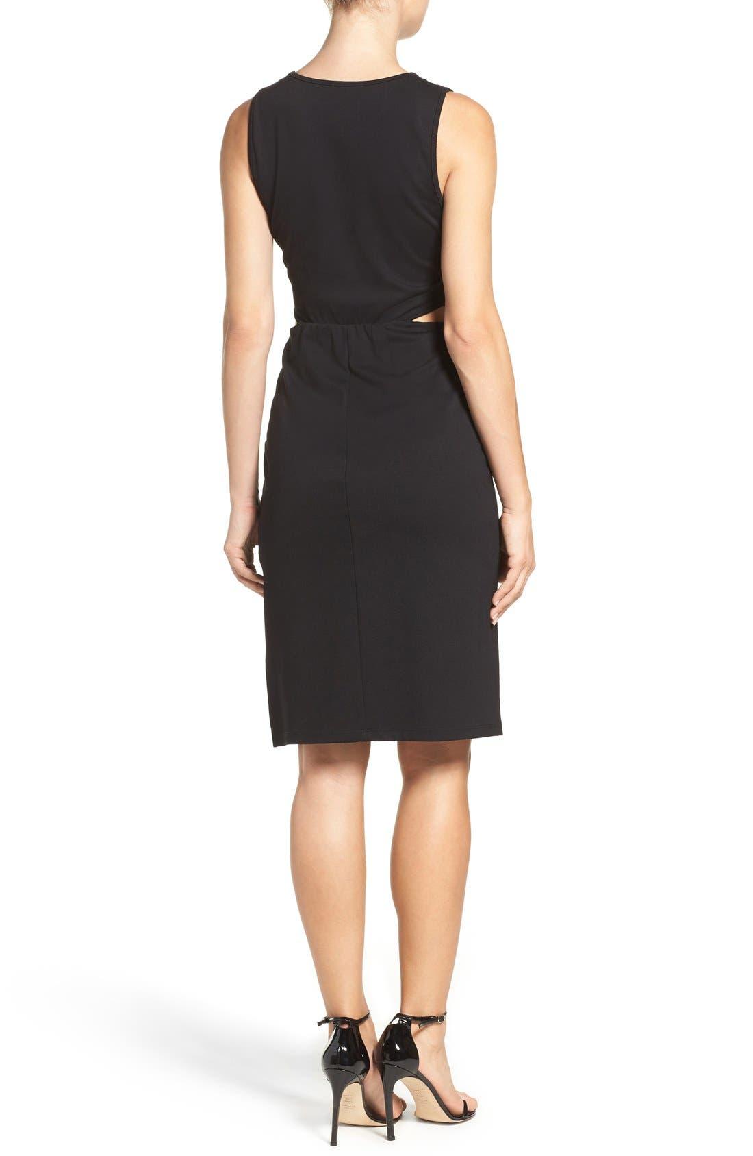 Ponte Cutout Sheath Dress,                             Alternate thumbnail 2, color,                             Black
