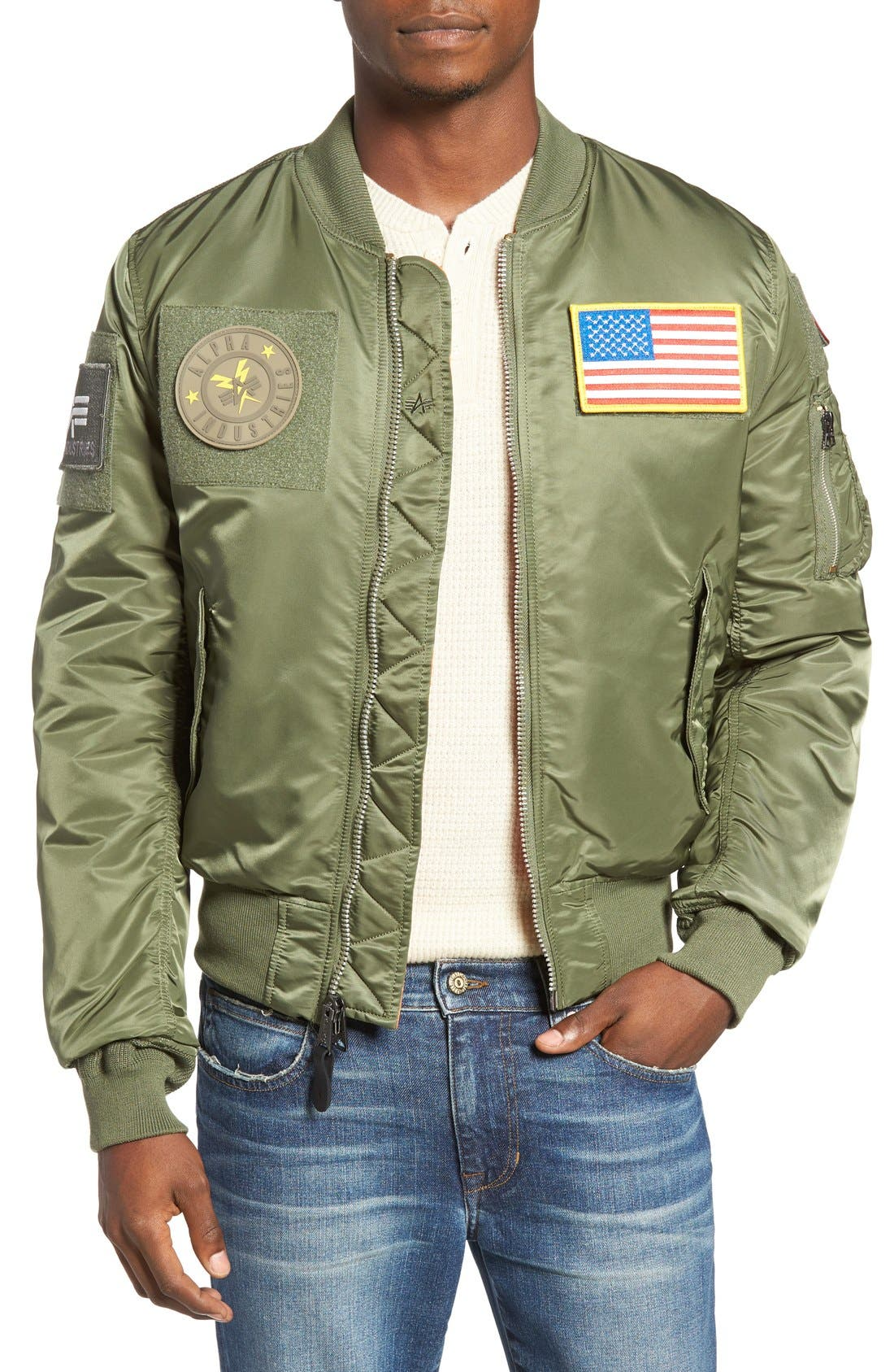 Main Image - Alpha Industries Slim Fit Reversible MA-1 Flex Bomber Jacket