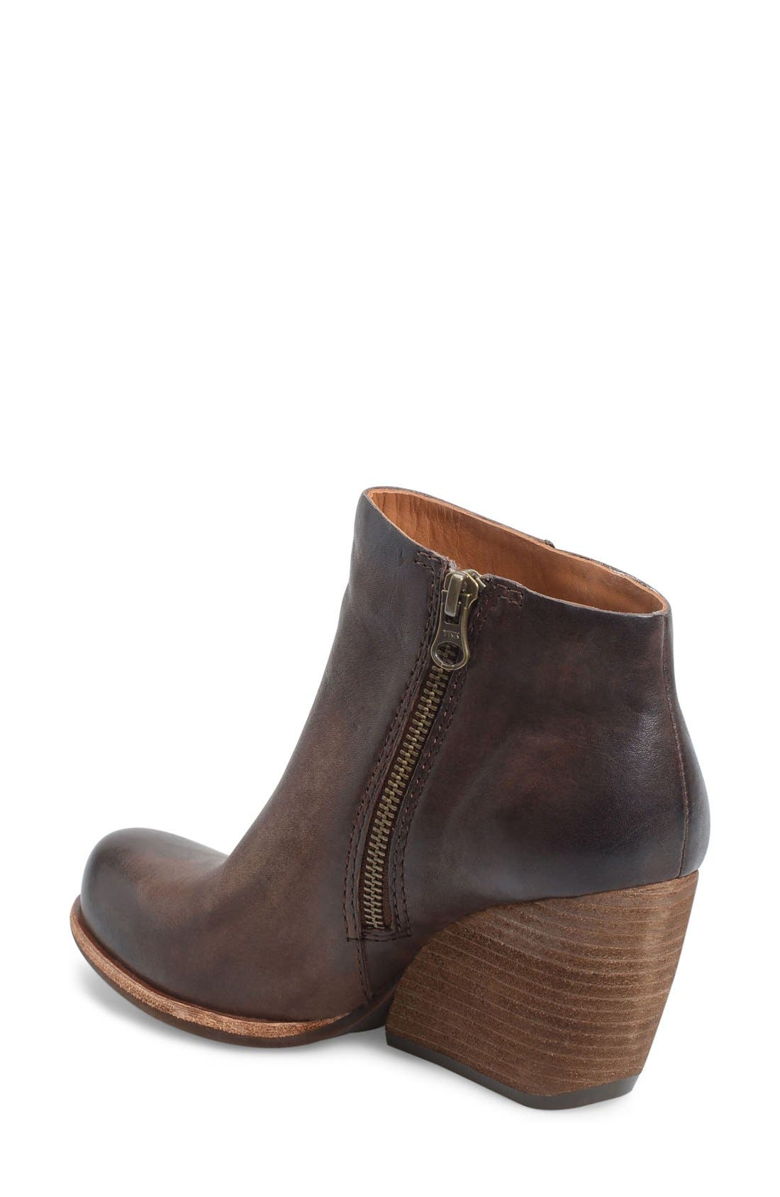 'Natalya' Burnished Leather Demi Wedge Boot,                             Alternate thumbnail 2, color,                             Dark Brown