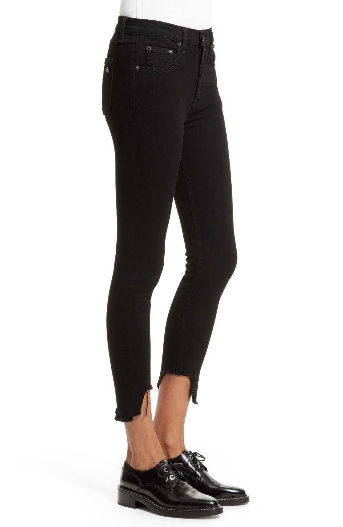 Cutoff Capri Jeans,                             Alternate thumbnail 3, color,                             Black Hampton
