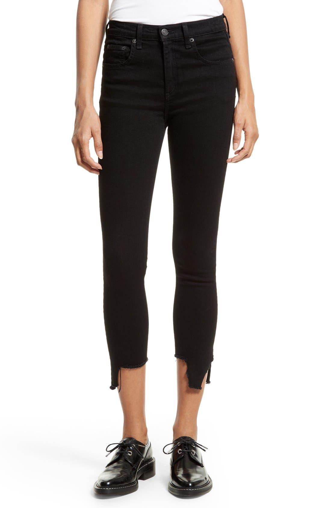 Main Image - rag & bone/JEAN Cutoff Capri Jeans (Black Hampton)