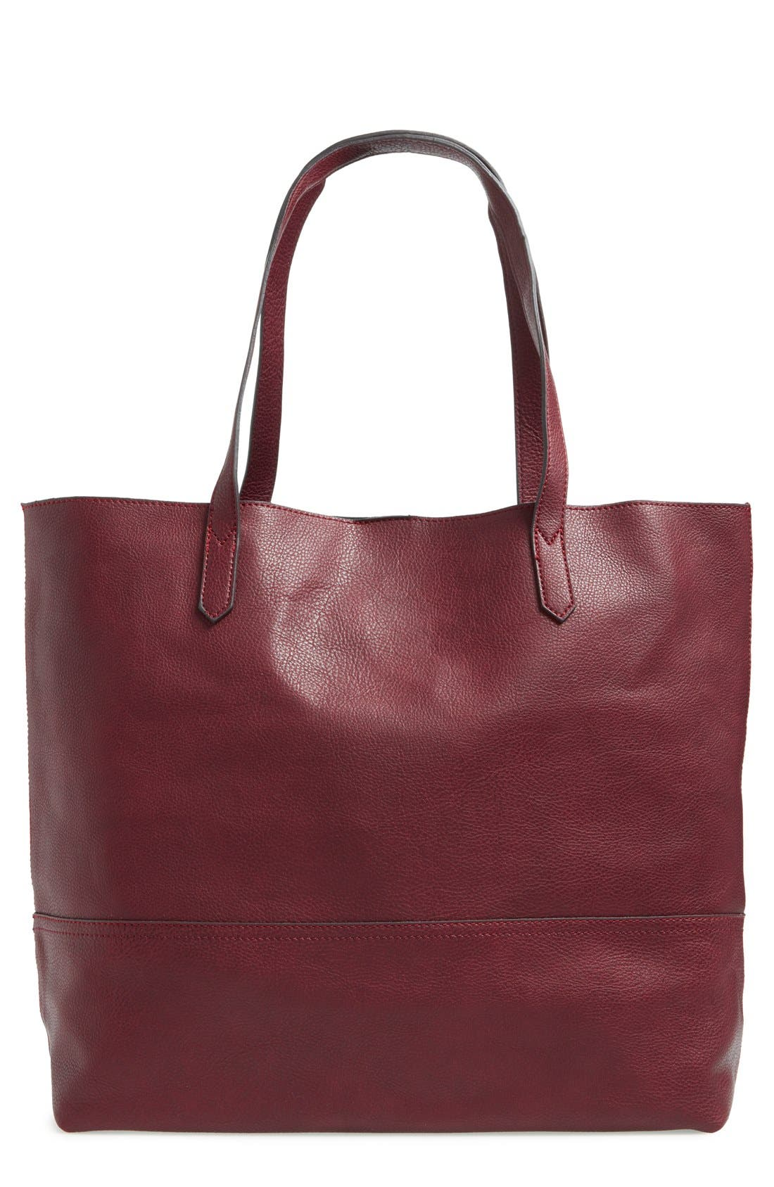 Dawson Oversize Faux Leather Shopper,                             Main thumbnail 1, color,                             Oxblood