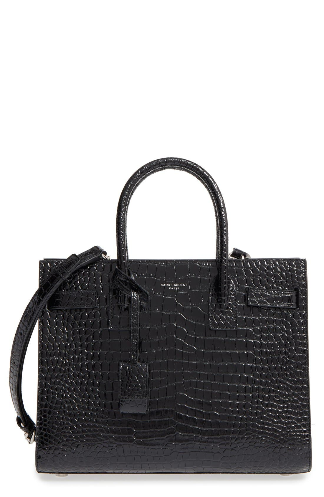 Main Image - Saint Laurent Baby Sac de Jour Croc Embossed Calfskin Leather Tote