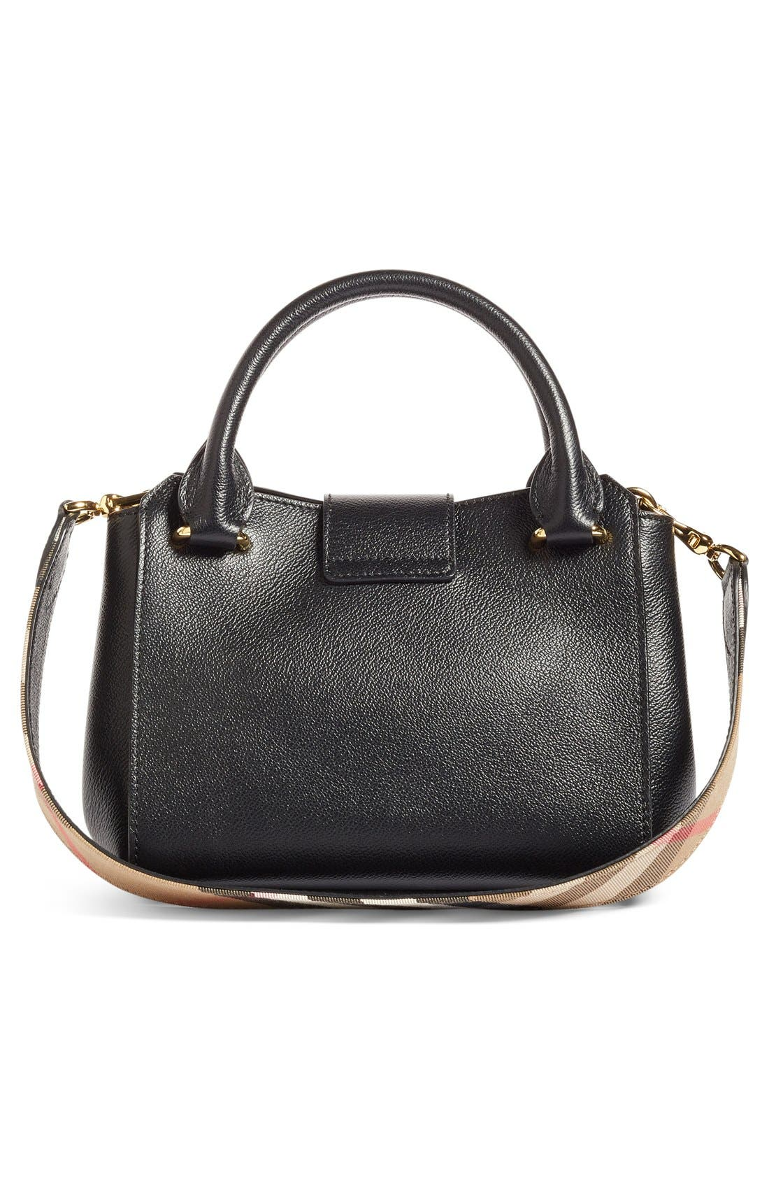 Small Buckle Leather Satchel,                             Alternate thumbnail 2, color,                             Black