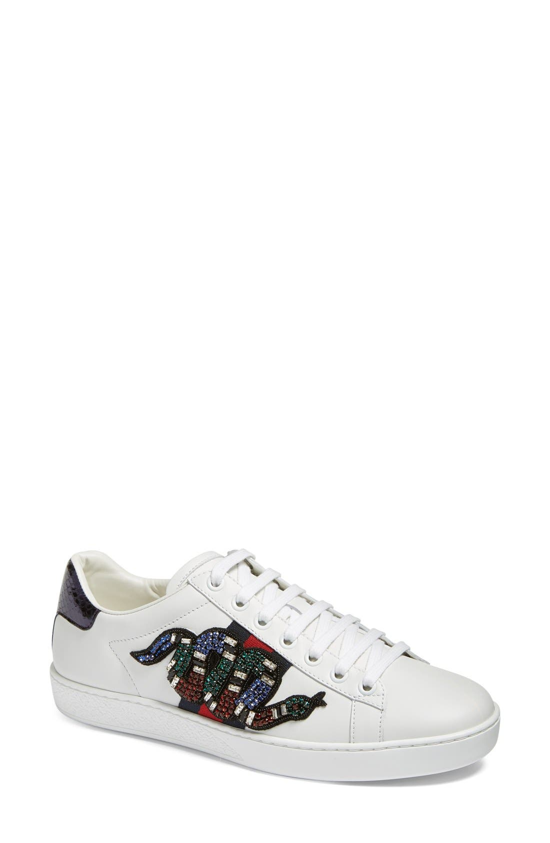 New Age Snake Embellished Sneaker,                             Main thumbnail 1, color,                             White Multi