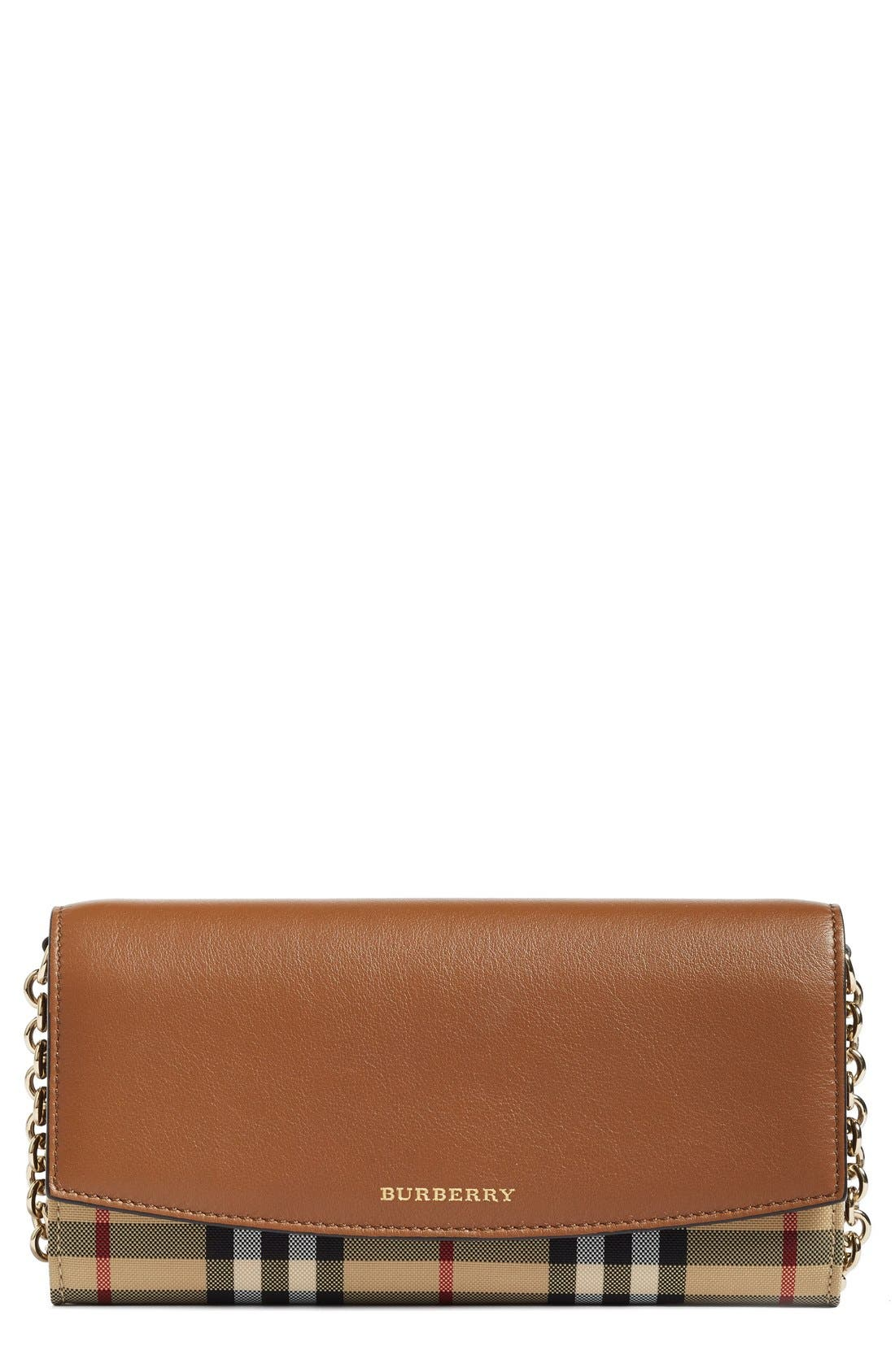 Henley Leather Wallet on a Chain,                         Main,                         color, Tan