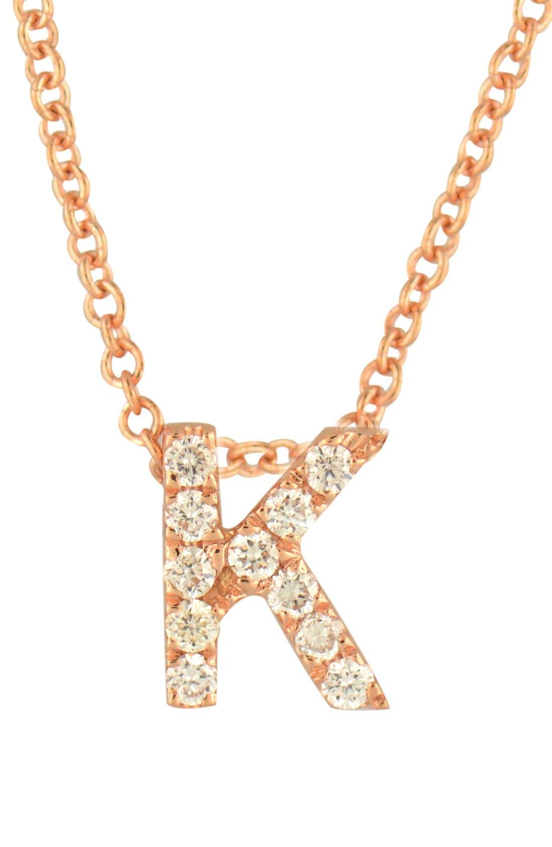 18k Gold Pavé Diamond Initial Pendant Necklace,                         Main,                         color, Rose Gold - K
