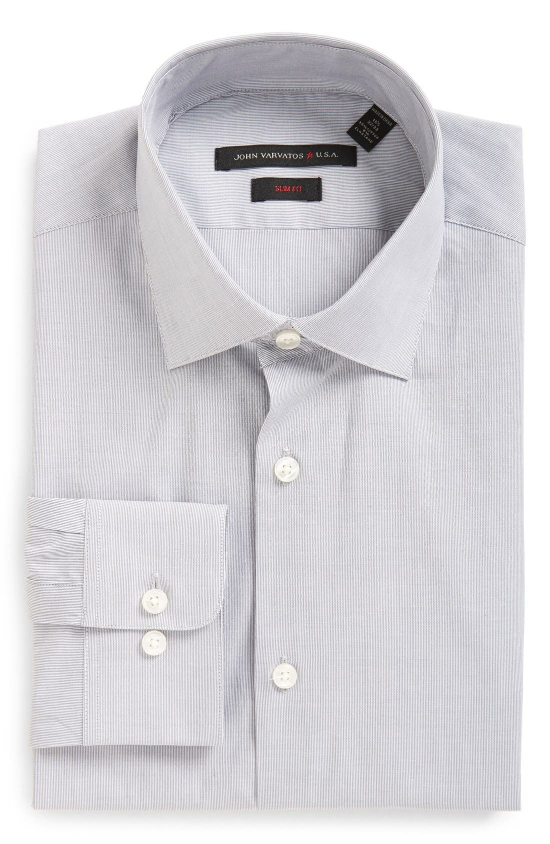 John Varvatos Star USA Soho Slim Fit Stretch Stripe Dress Shirt