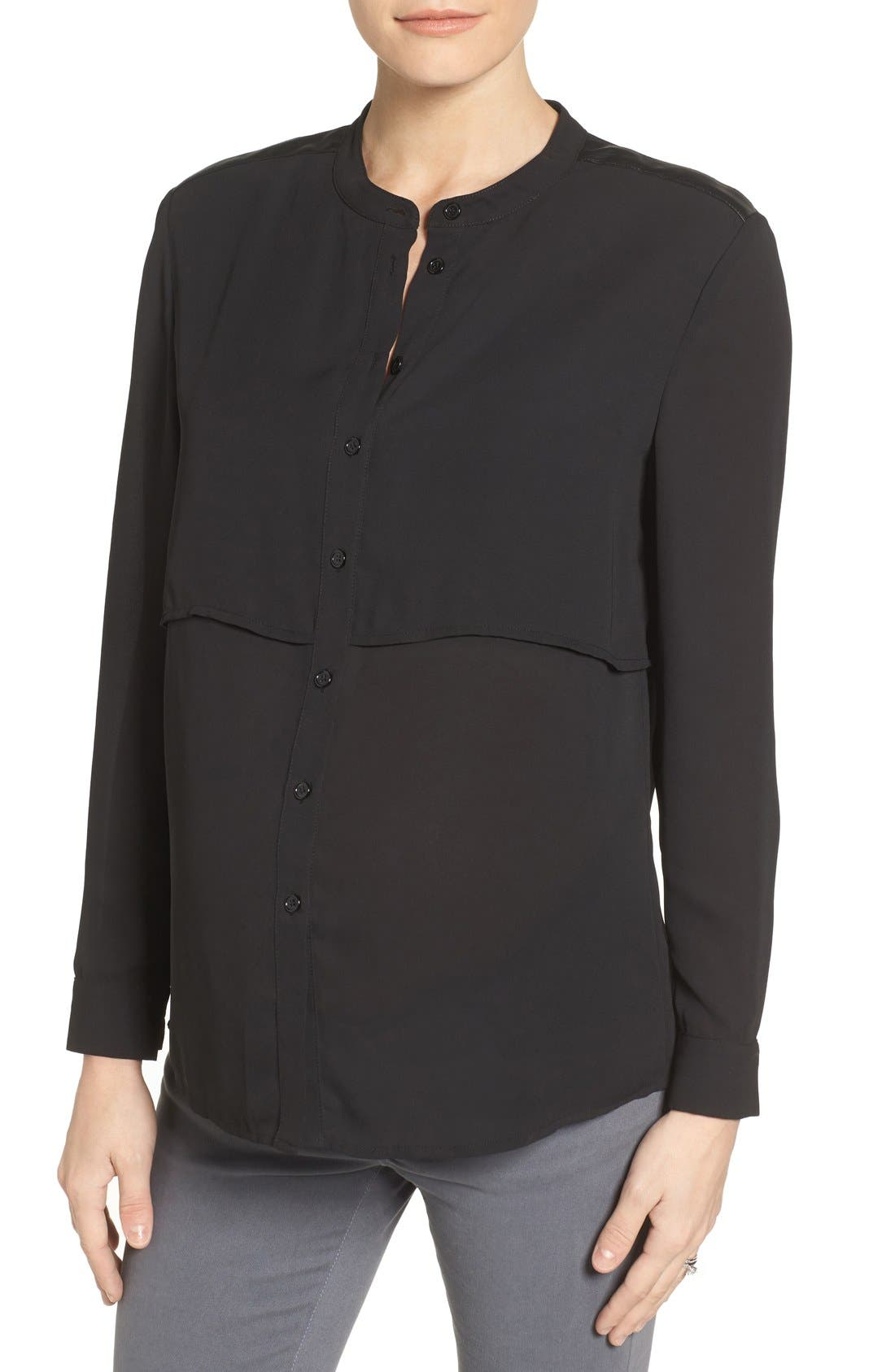 Jenni Maternity/Nursing Shirt,                             Main thumbnail 1, color,                             Black