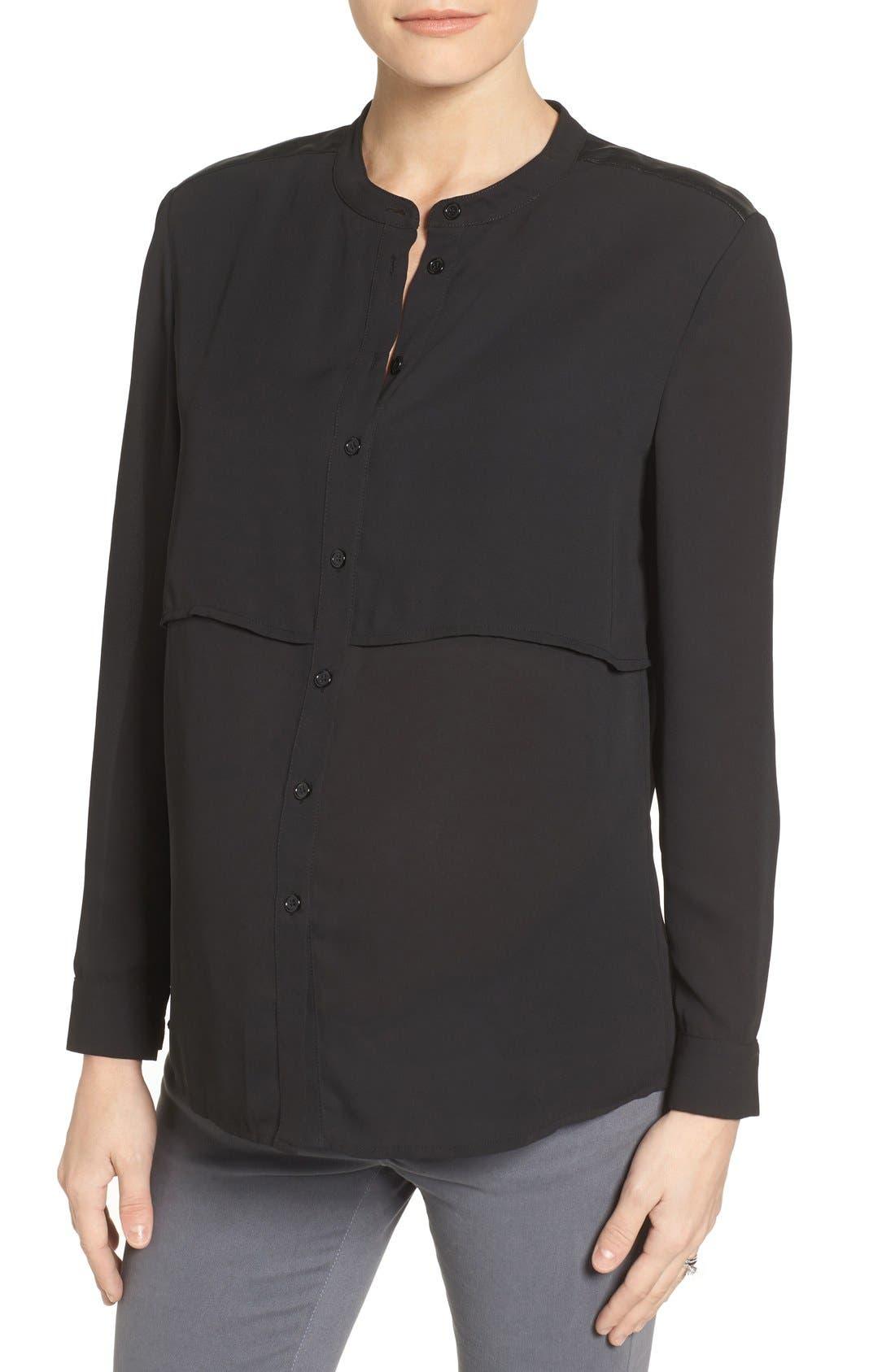 Jenni Maternity/Nursing Shirt,                         Main,                         color, Black