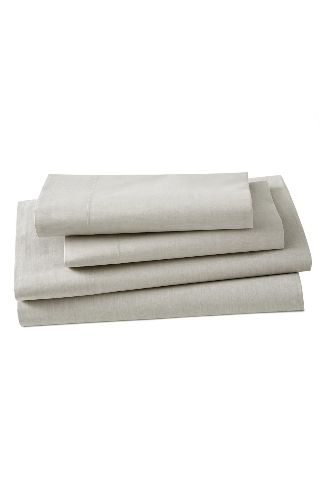 Ascott 200 Thread Count Flat Sheet,                             Main thumbnail 1, color,                             Linen Stripe