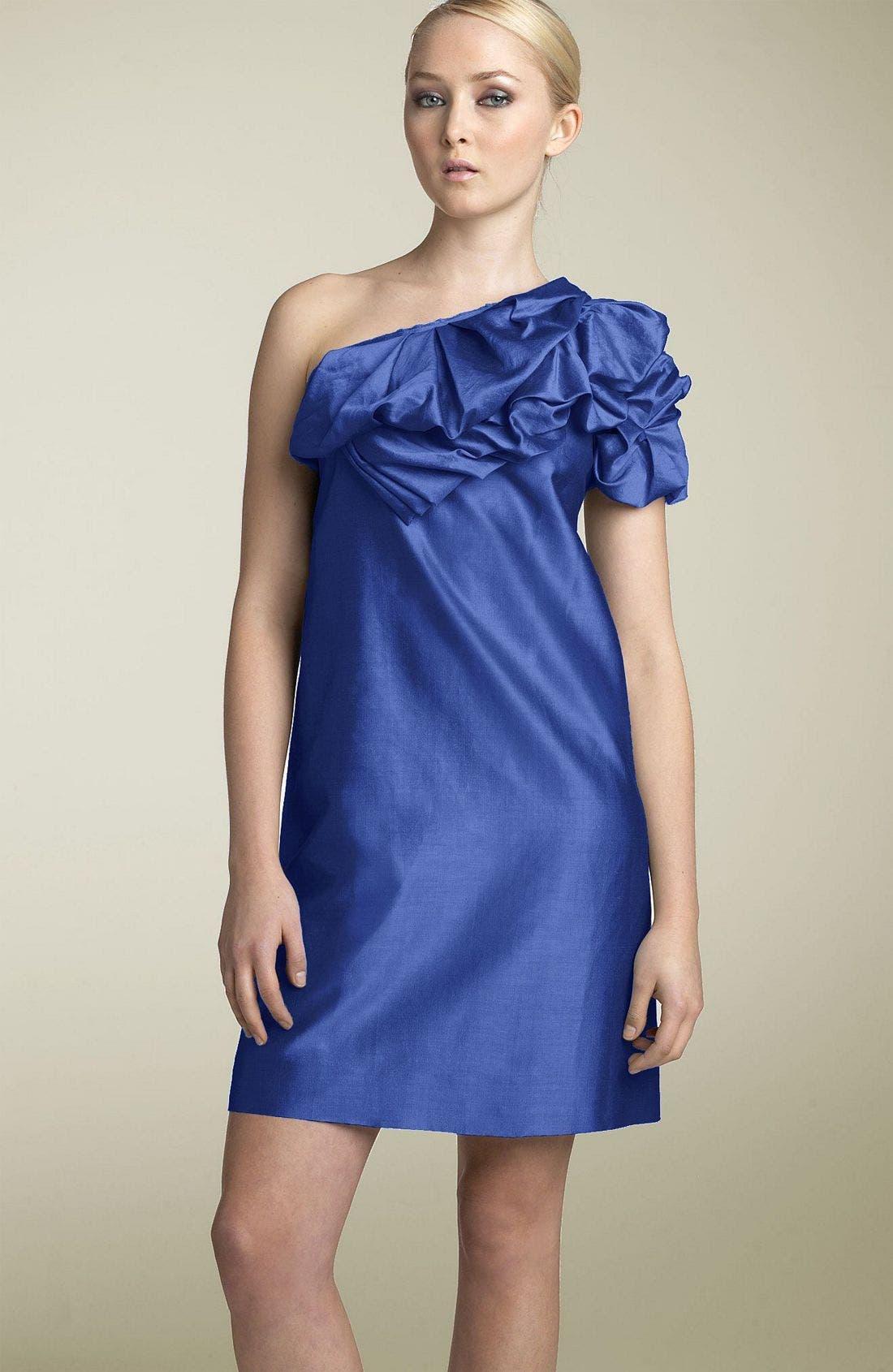 One Shoulder Ruffle Dress,                         Main,                         color, Cerulean
