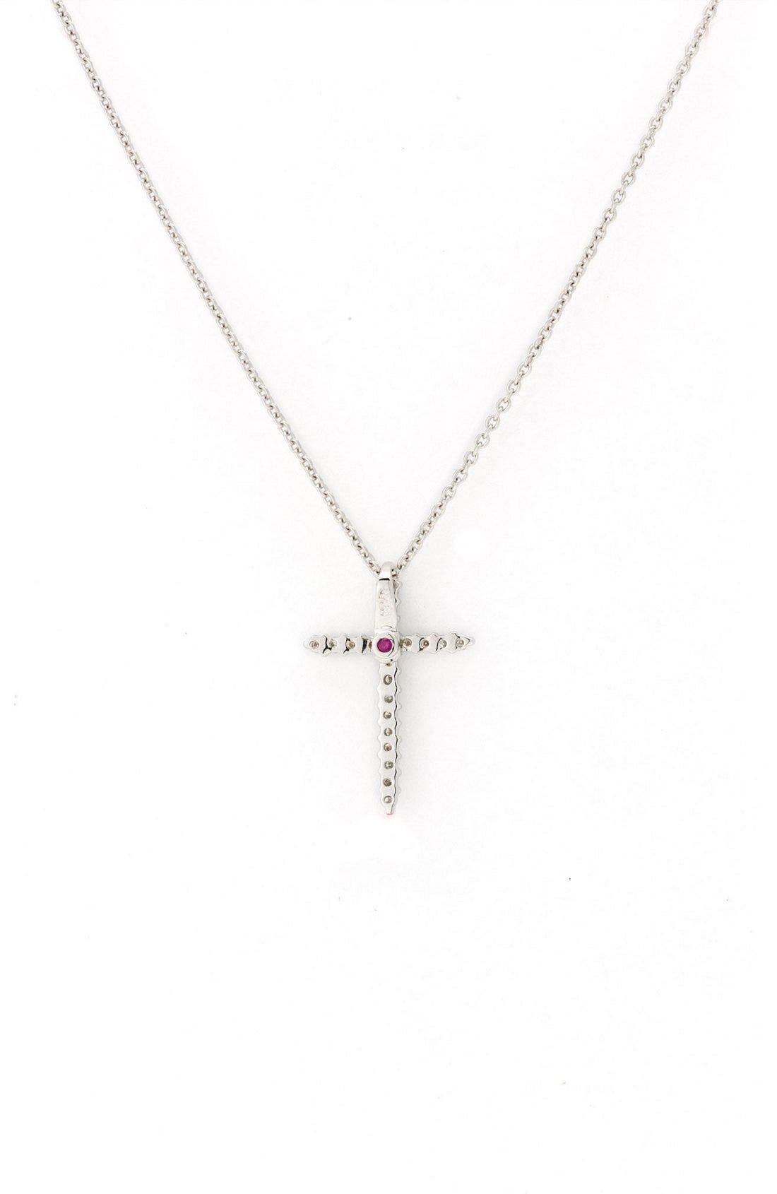Diamond Cross Pendant Necklace,                             Alternate thumbnail 2, color,                             White Gold