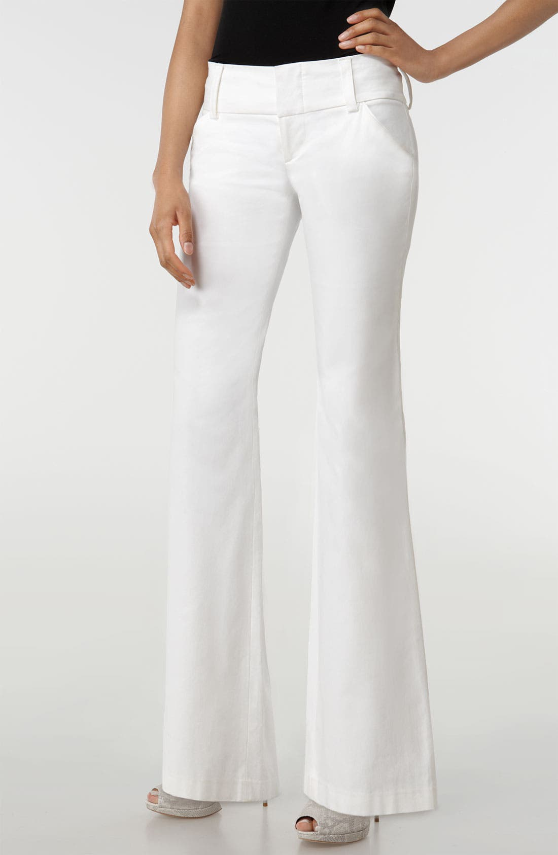 Wide Waistband Pants,                         Main,                         color, Bright White