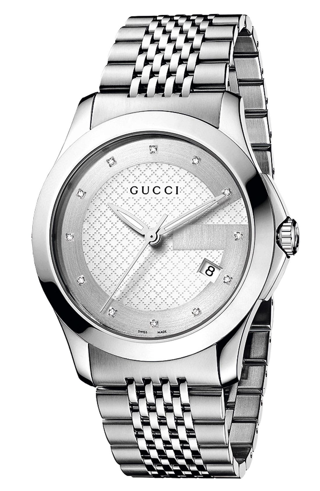 Alternate Image 1 Selected - Gucci 'G Timeless' Diamond Dial Bracelet Watch