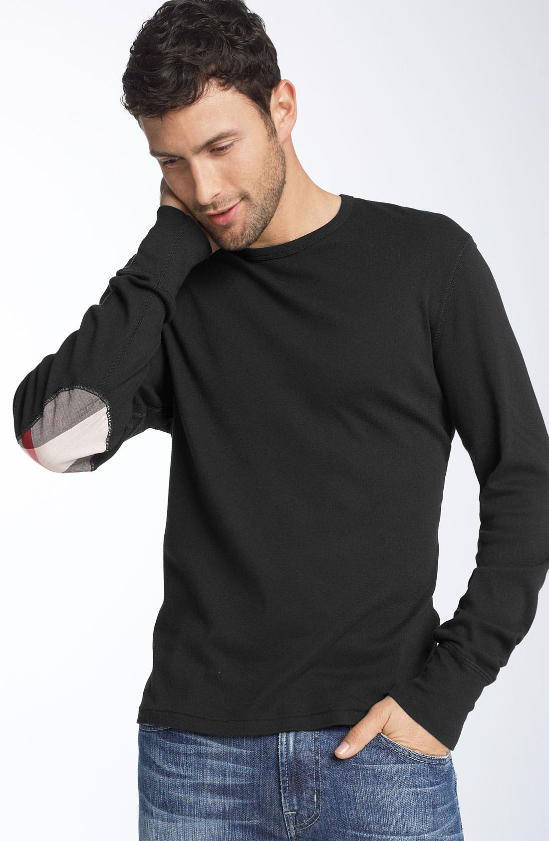 Alternate Image 1 Selected - Burberry Brit Trim Fit Elbow Patch T-Shirt