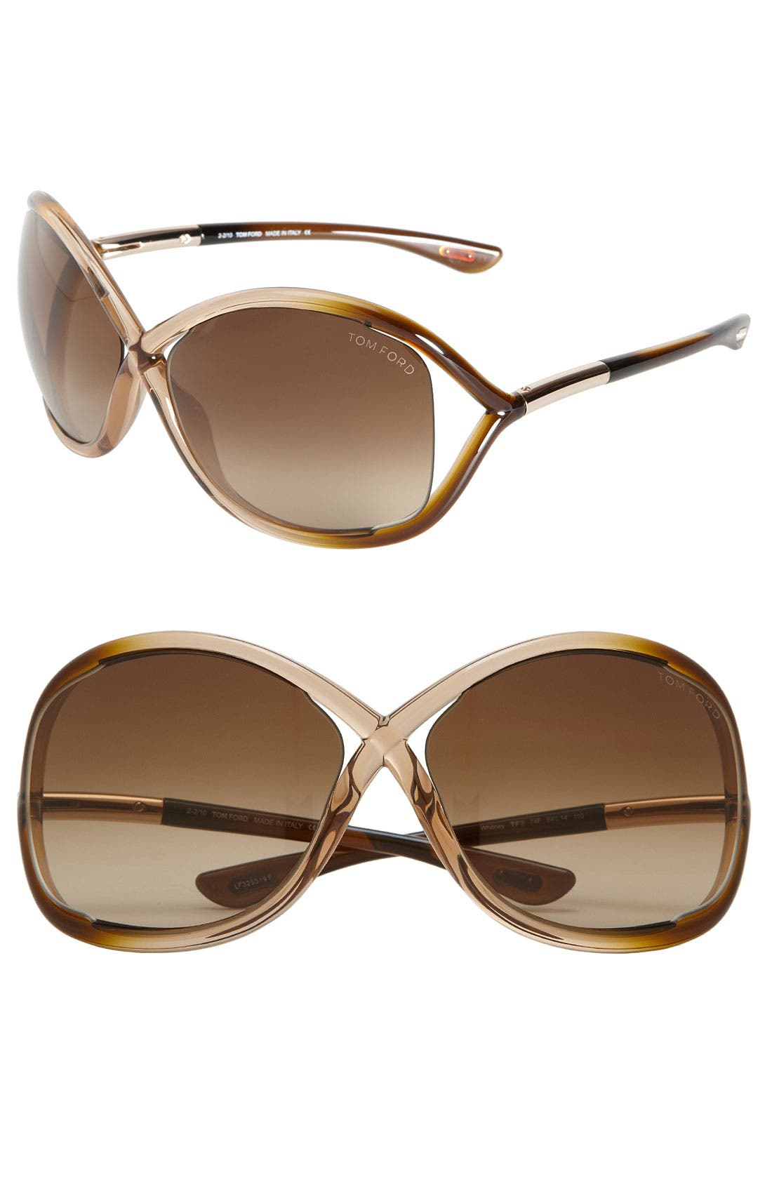 'Whitney' 64mm Open Side Sunglasses,                         Main,                         color, Rose/ Brown