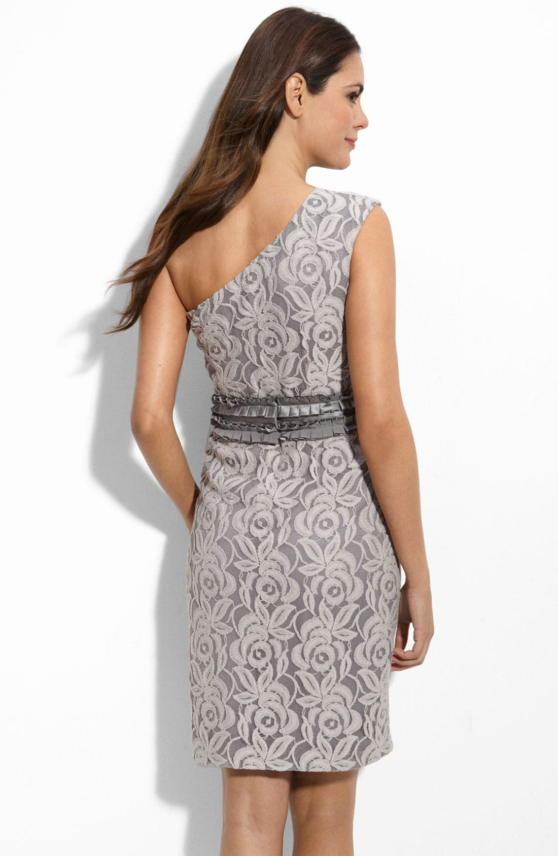 Alternate Image 2  - Suzi Chin for Maggy Boutique One Shoulder Lace Sheath Dress