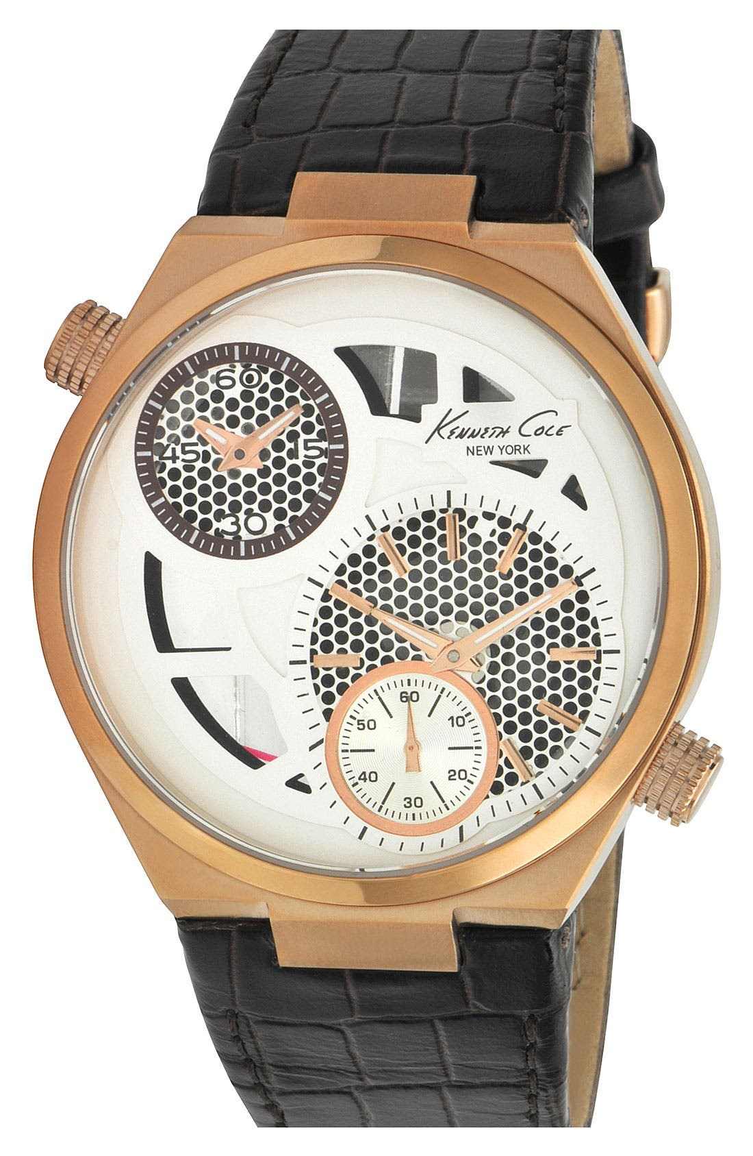 Alternate Image 1 Selected - Kenneth Cole New York Multifunction Leather Strap Watch