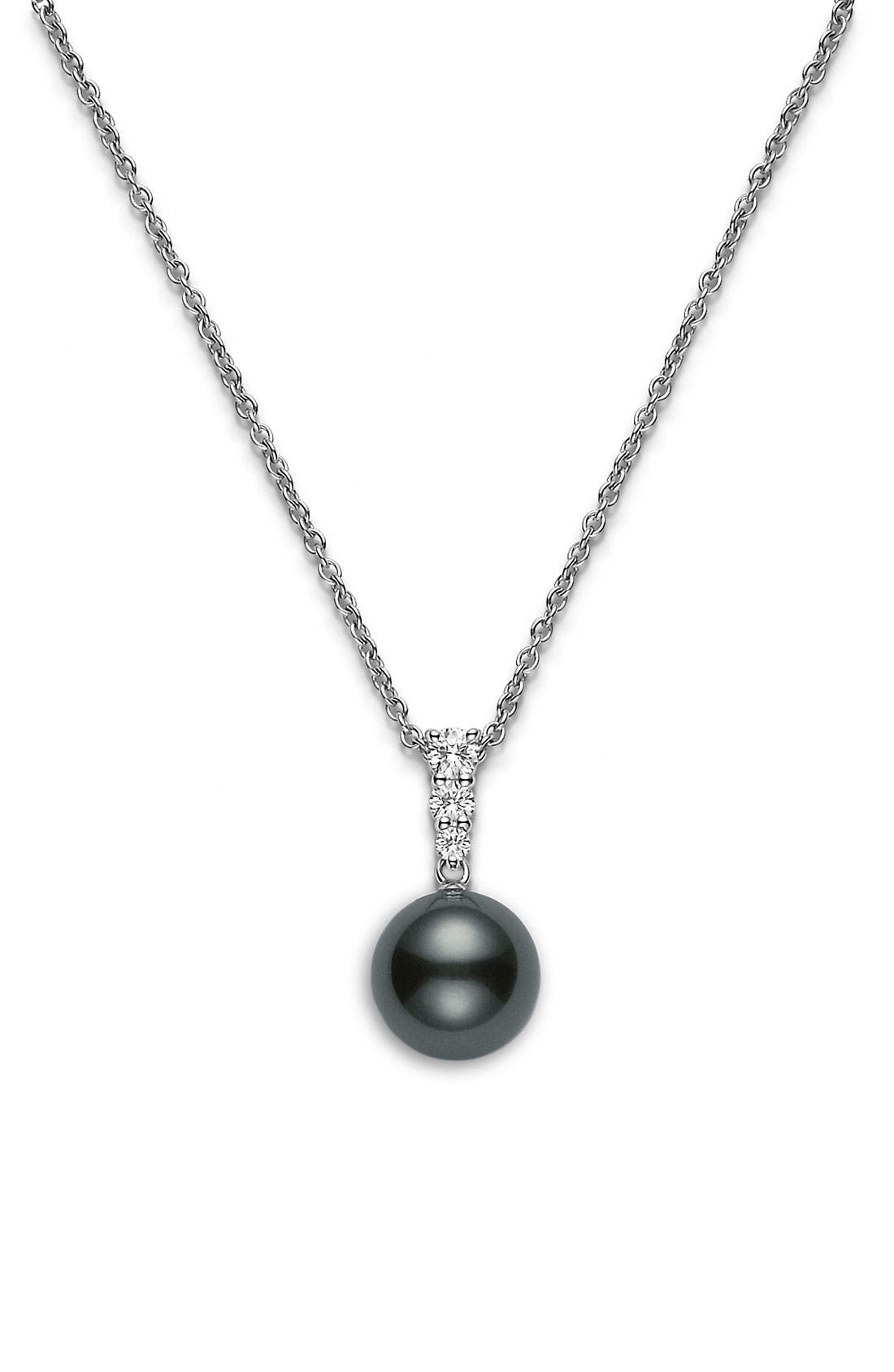 Alternate Image 1 Selected - Mikimoto 'Morning Dew' Black South Sea Cultured Pearl & Diamond Pendant Necklace