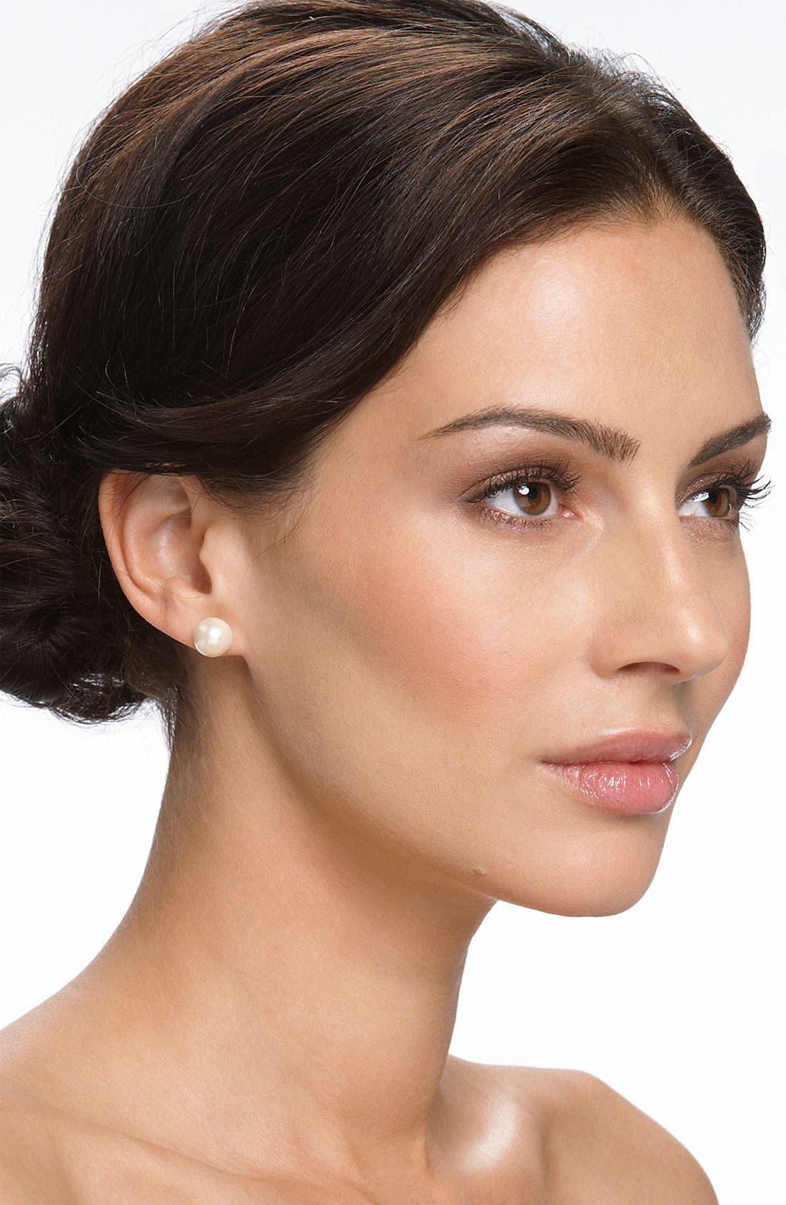 Alternate Image 3  - Nordstrom 10mm Glass Pearl Stud Earrings