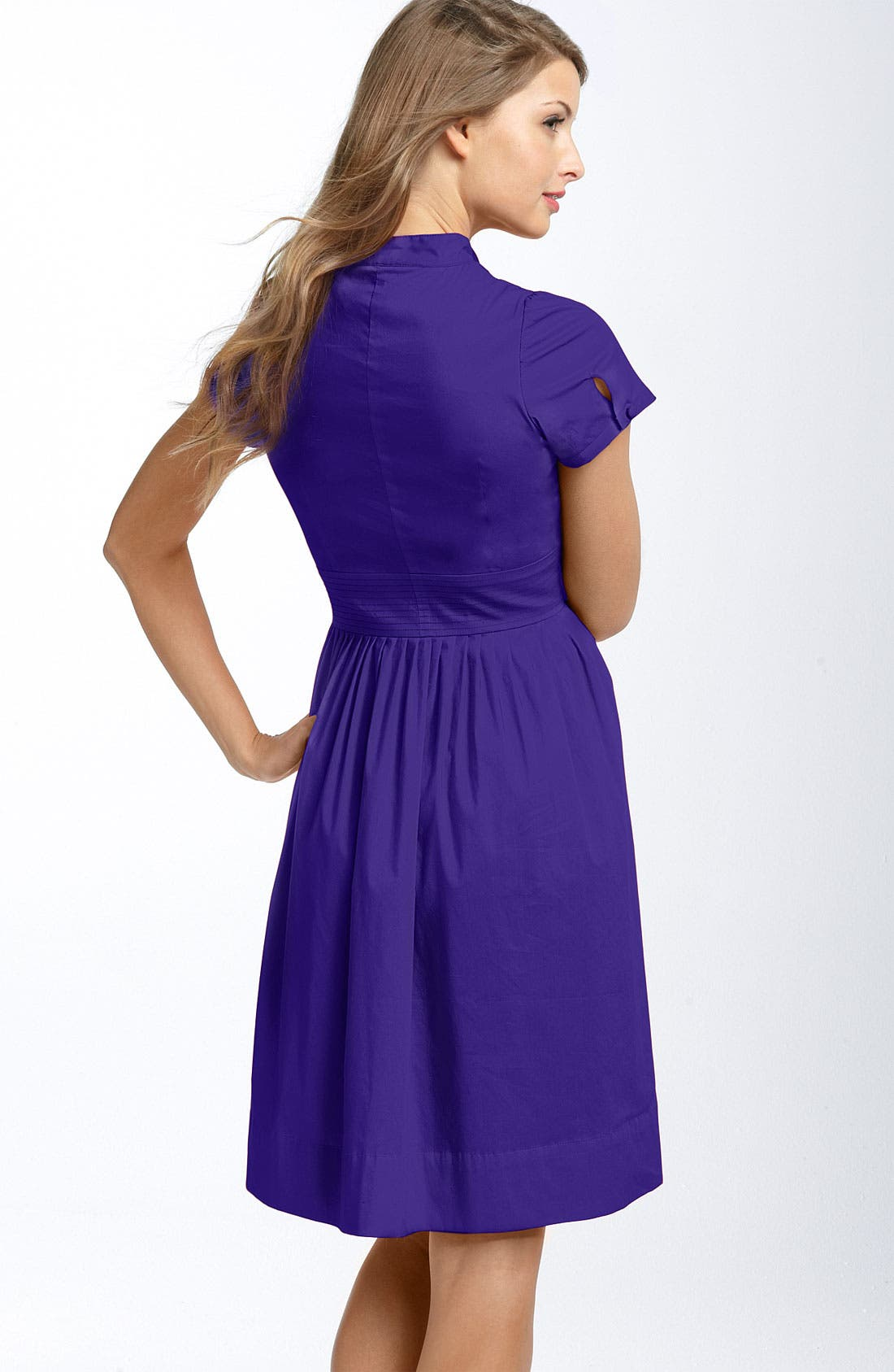 Alternate Image 2  - Eliza J Ruffle Bib Stretch Cotton Shirtdress