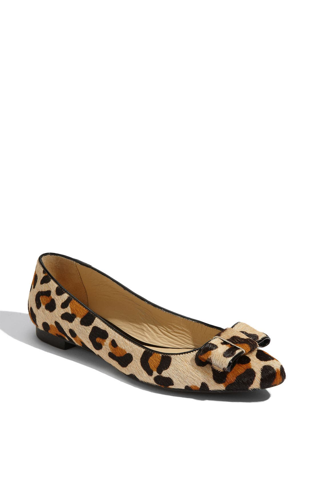 'elise' leopard print calf hair flat,                             Main thumbnail 1, color,                             Large Leopard Printed