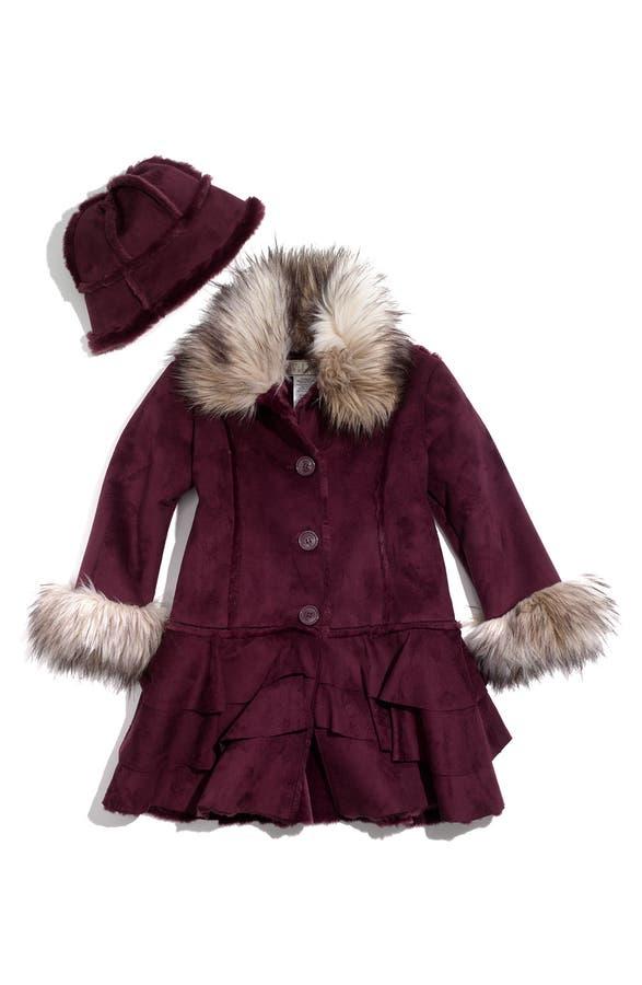 Widgeon Faux Shearling Coat & Hat with Faux Fur Trim (Little Girls ...